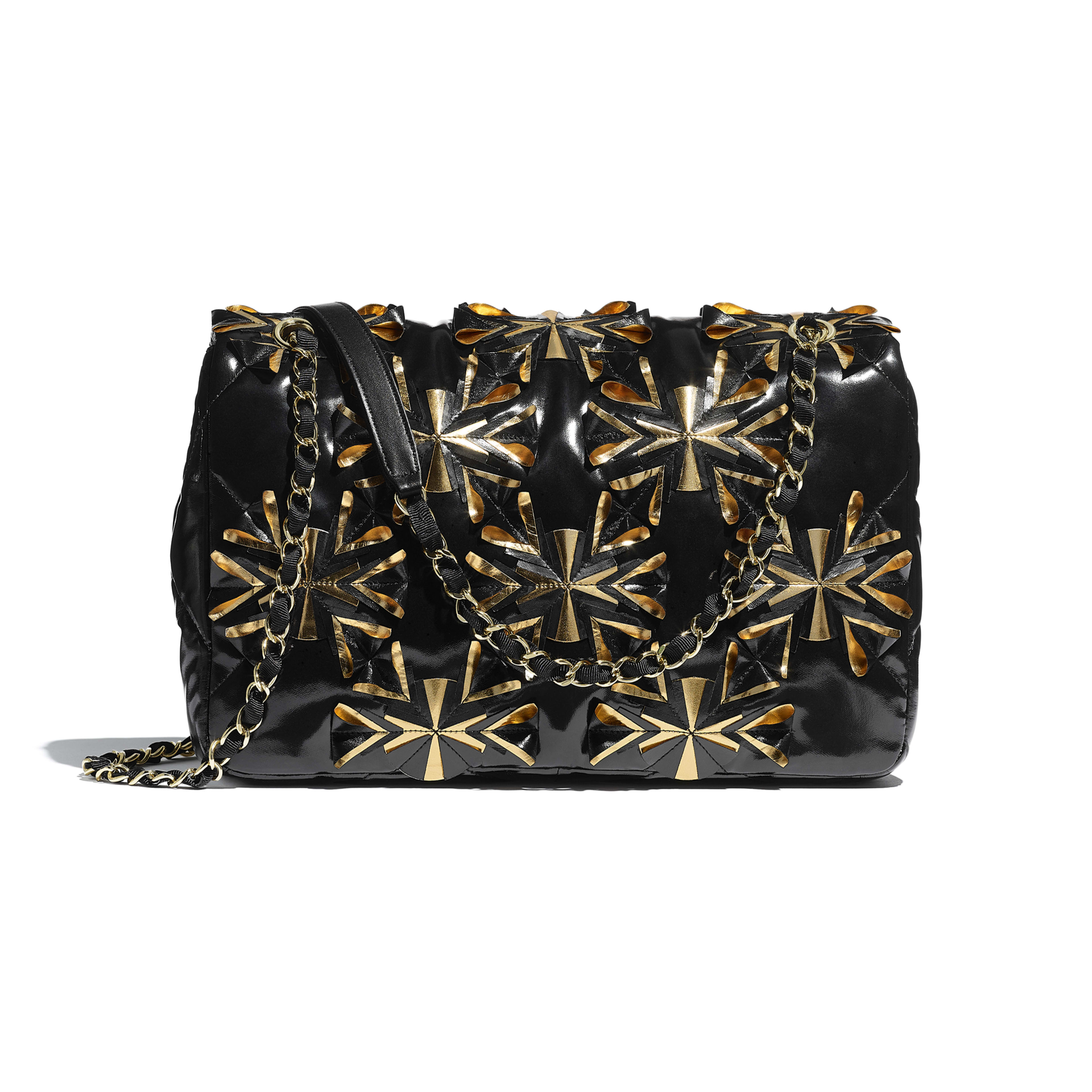 Flap Bag - Black & Gold - Embroidered Vinyl & Gold-Tone Metal - Alternative view - see full sized version