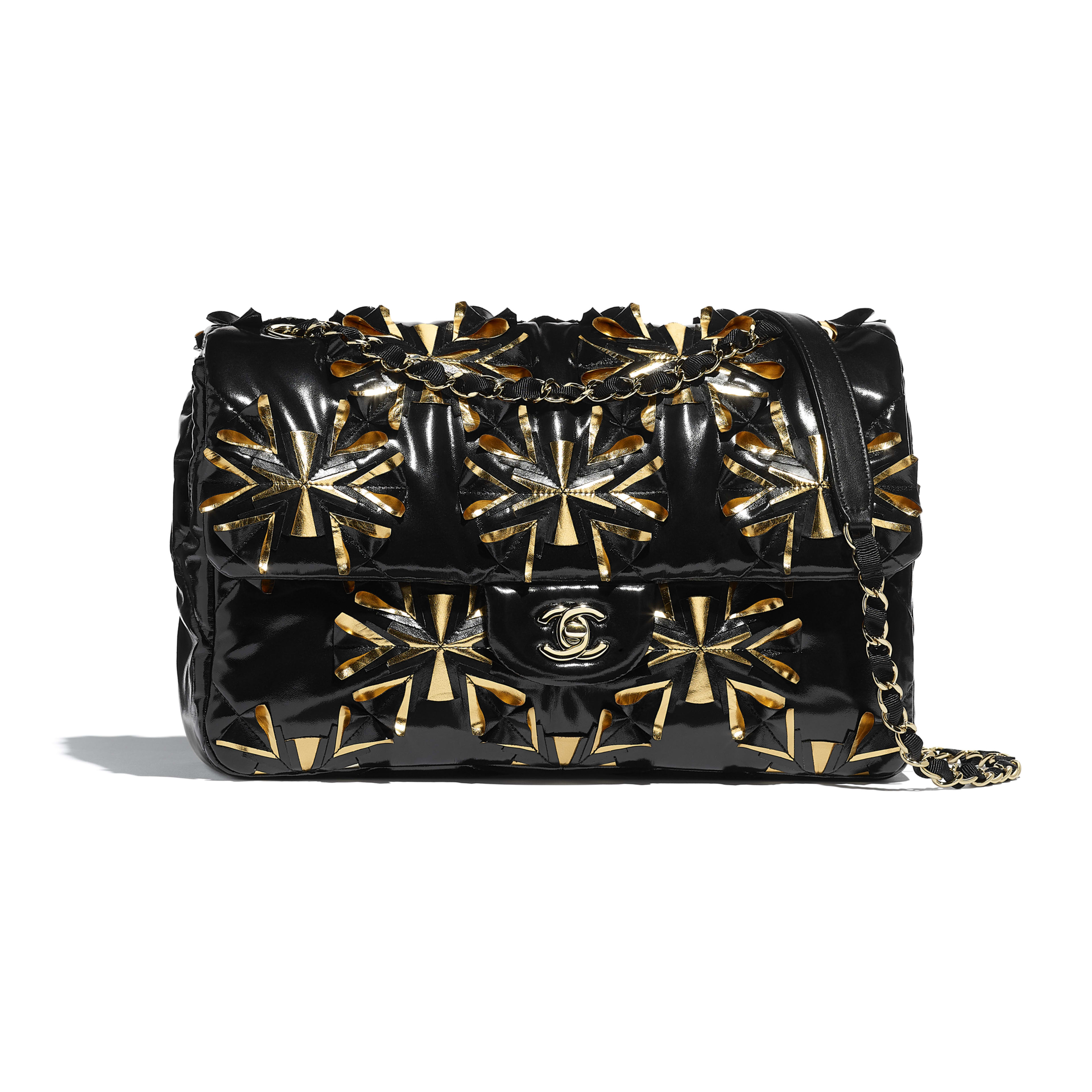 Flap Bag - Black & Gold - Embroidered Vinyl & Gold-Tone Metal - Default view - see full sized version