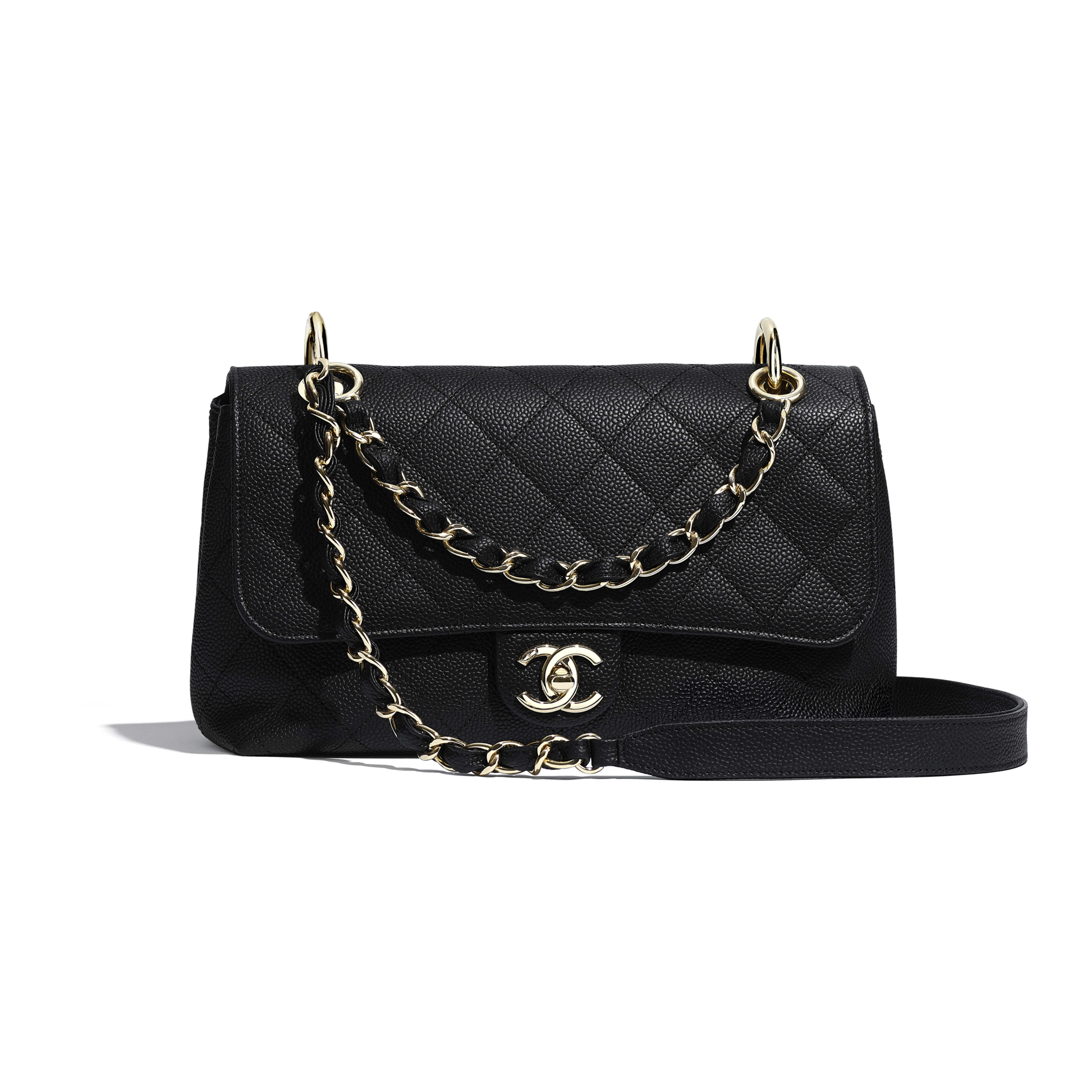Flap Bag - Black - Grained Calfskin & Gold-Tone Metal - Default view - see full sized version