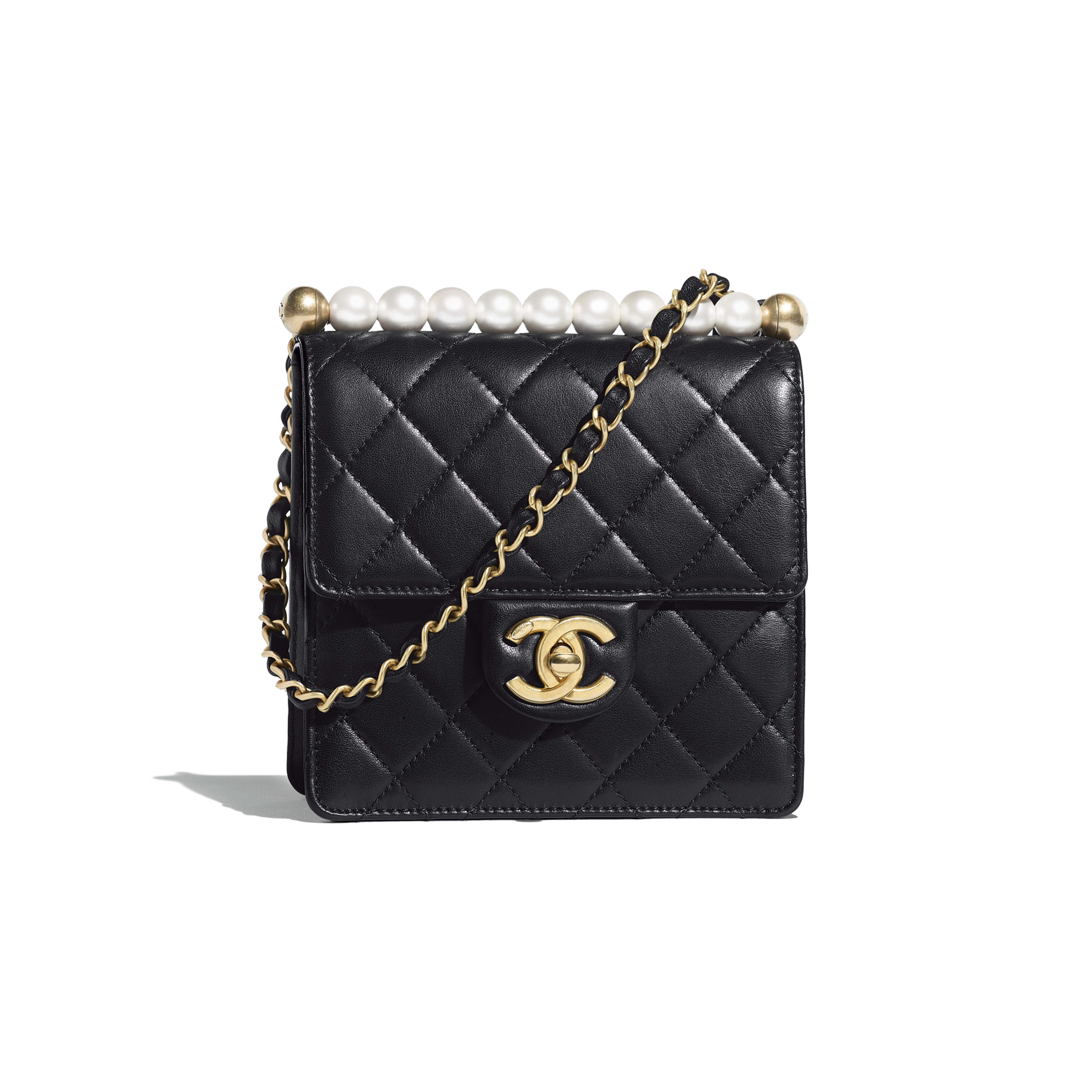 Flap Bag - Black - Lambskin, Imitation Pearls & Gold-Tone Metal - Default view - see full sized version