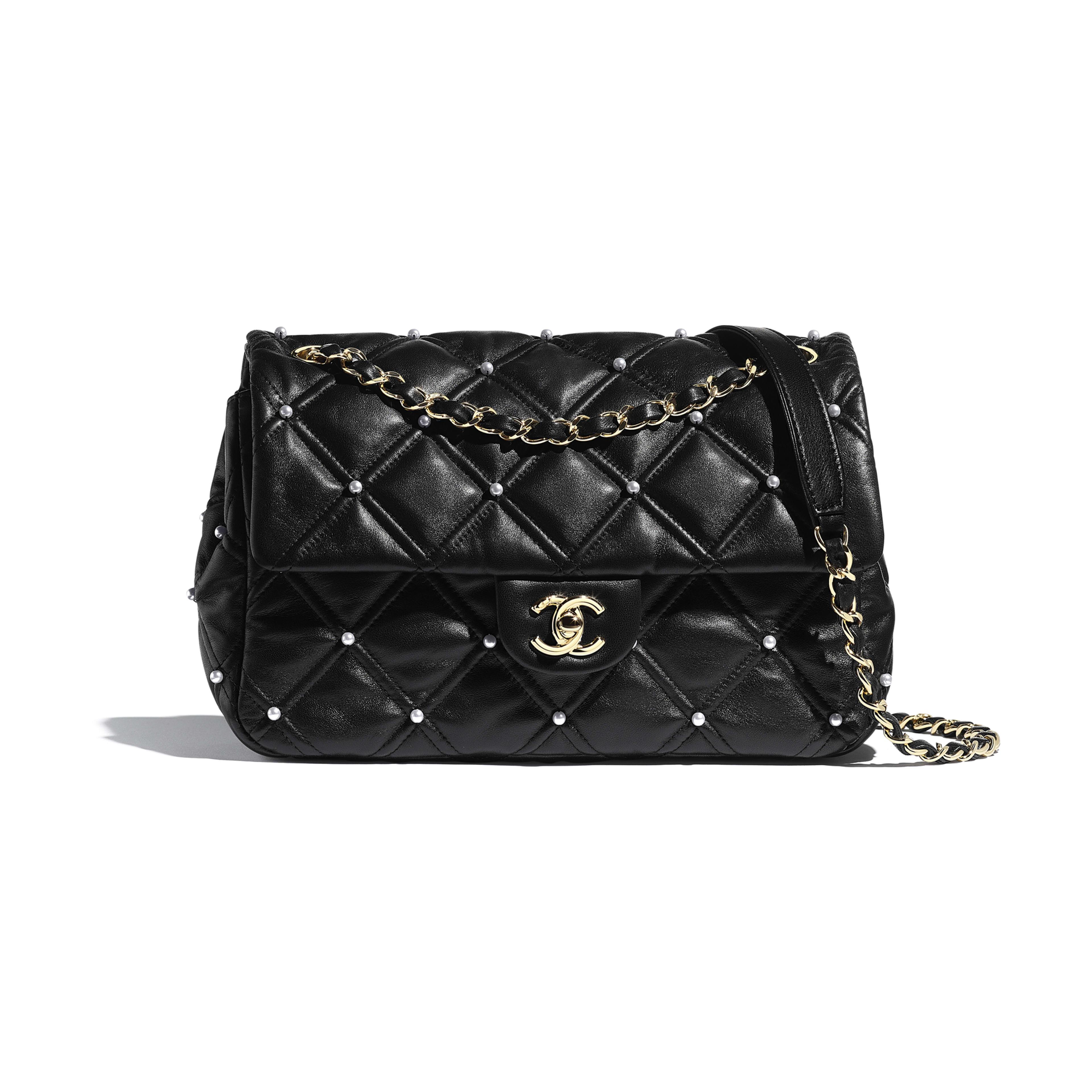 Flap Bag - Black - Lambskin, Imitation Pearls & Gold-Tone Metal - Default view - see full sized version