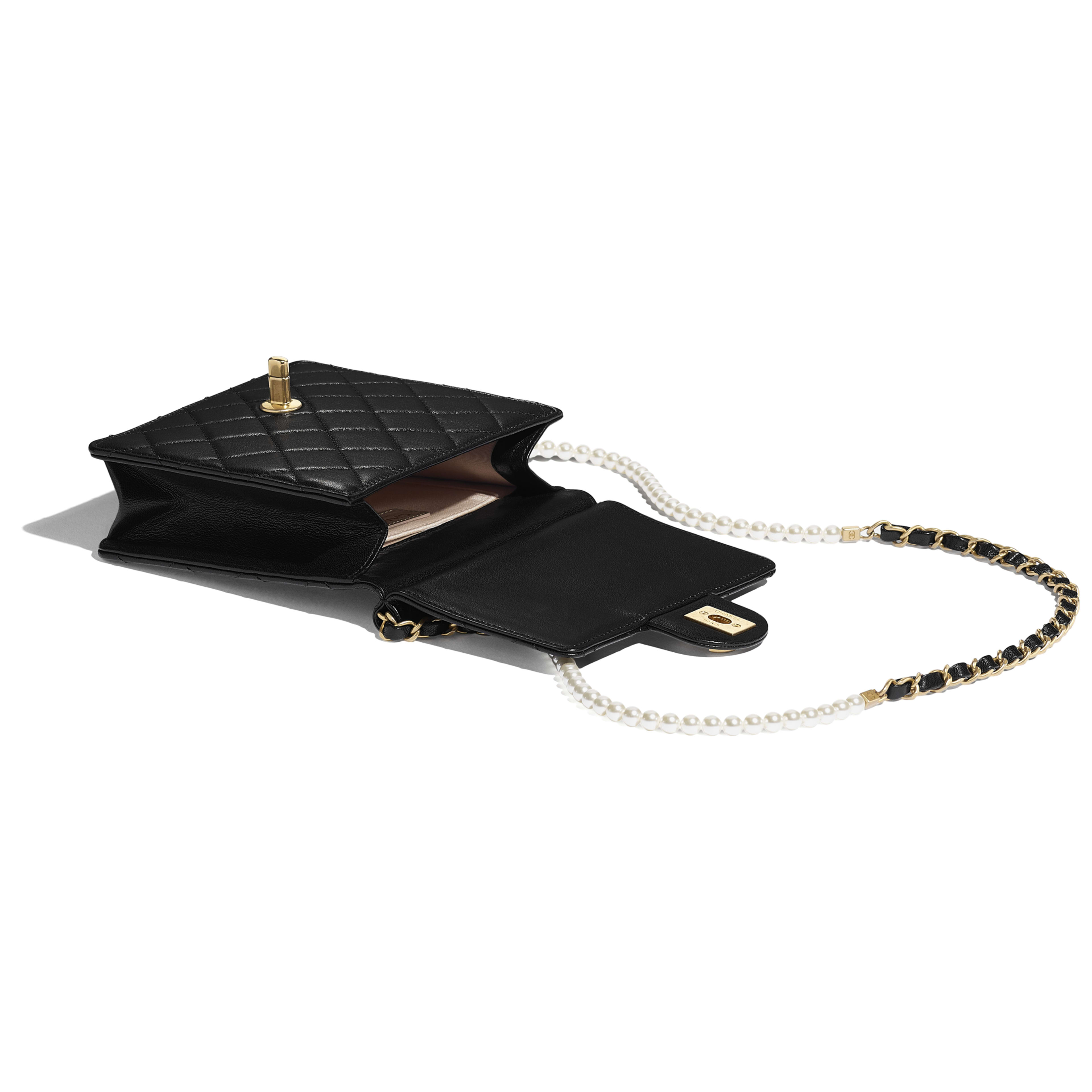 Flap Bag - Black - Lambskin, Imitation Pearls & Gold-Tone Metal - Other view - see full sized version