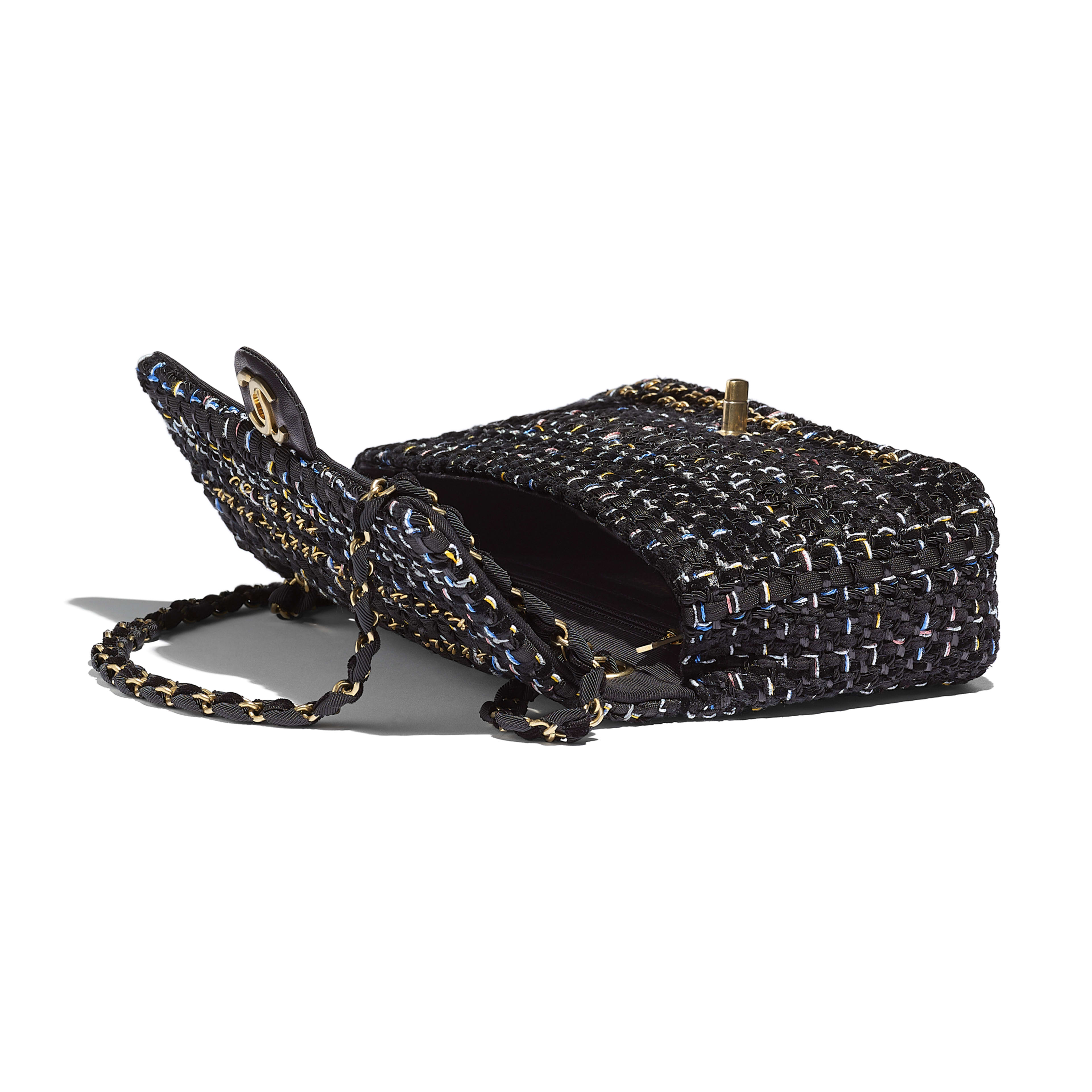 Flap Bag - Black - Tweed & Gold Metal - Other view - see full sized version