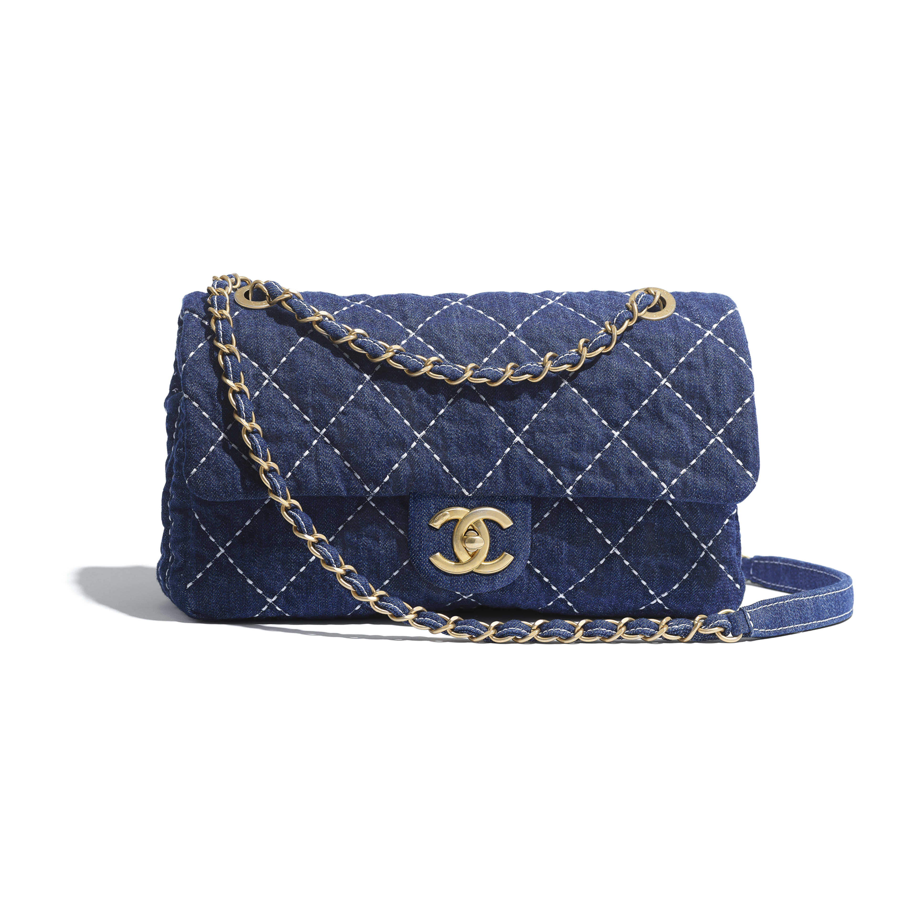 Flap Bag - Blue - Denim & Gold Metal - Default view - see full sized version