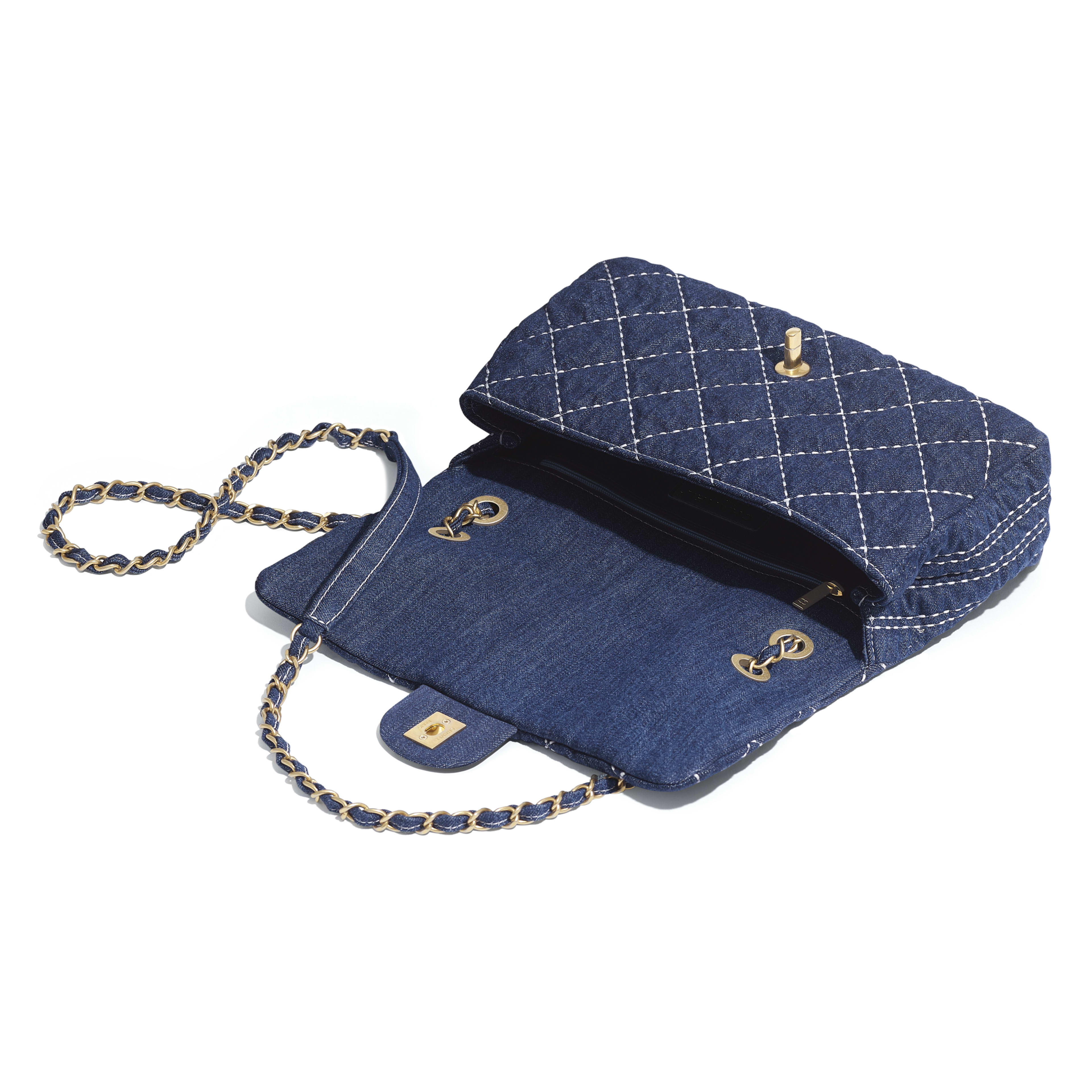 Flap Bag - Blue - Denim & Gold Metal - Other view - see full sized version