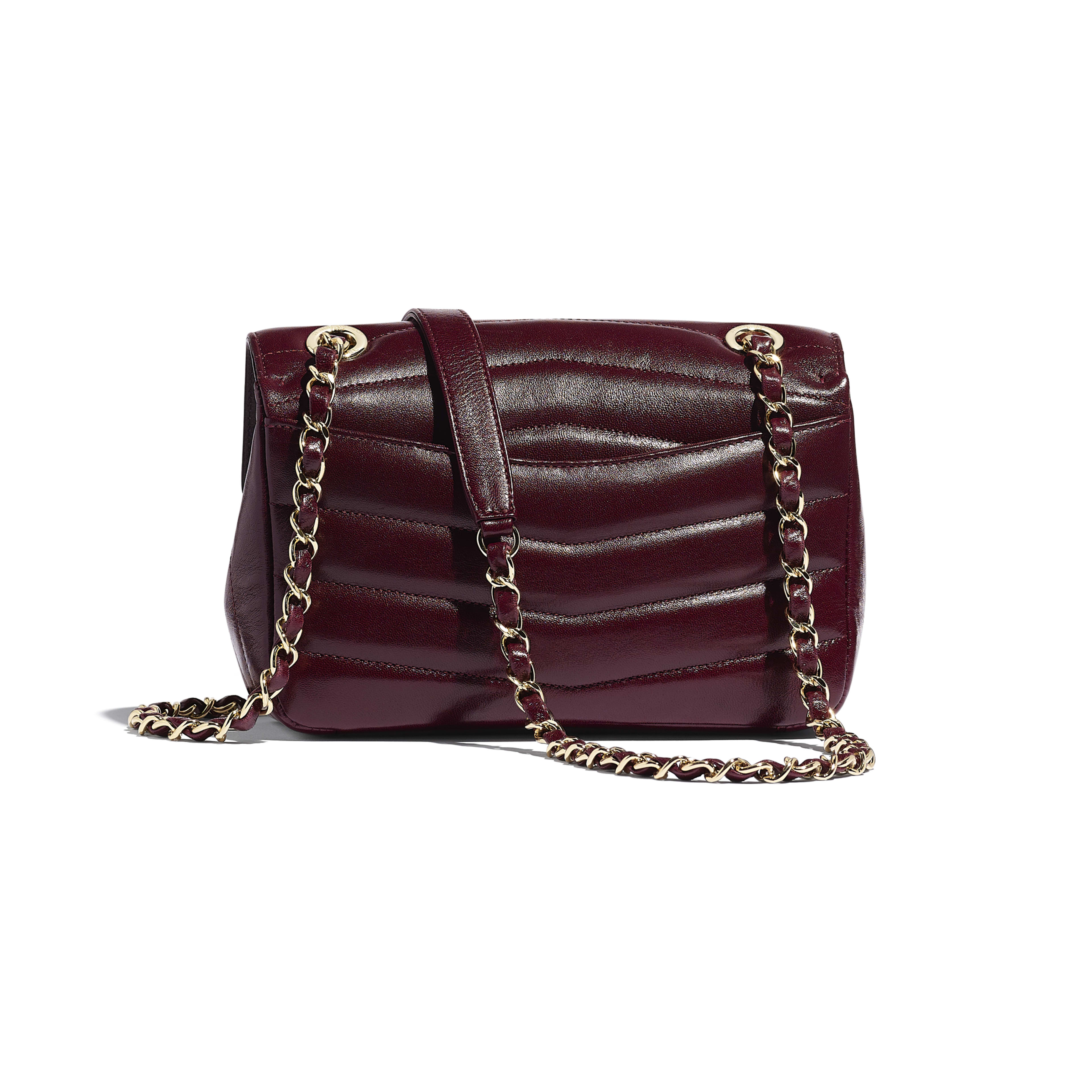 Flap Bag - Burgundy - Lambskin - Alternative view - see full sized version