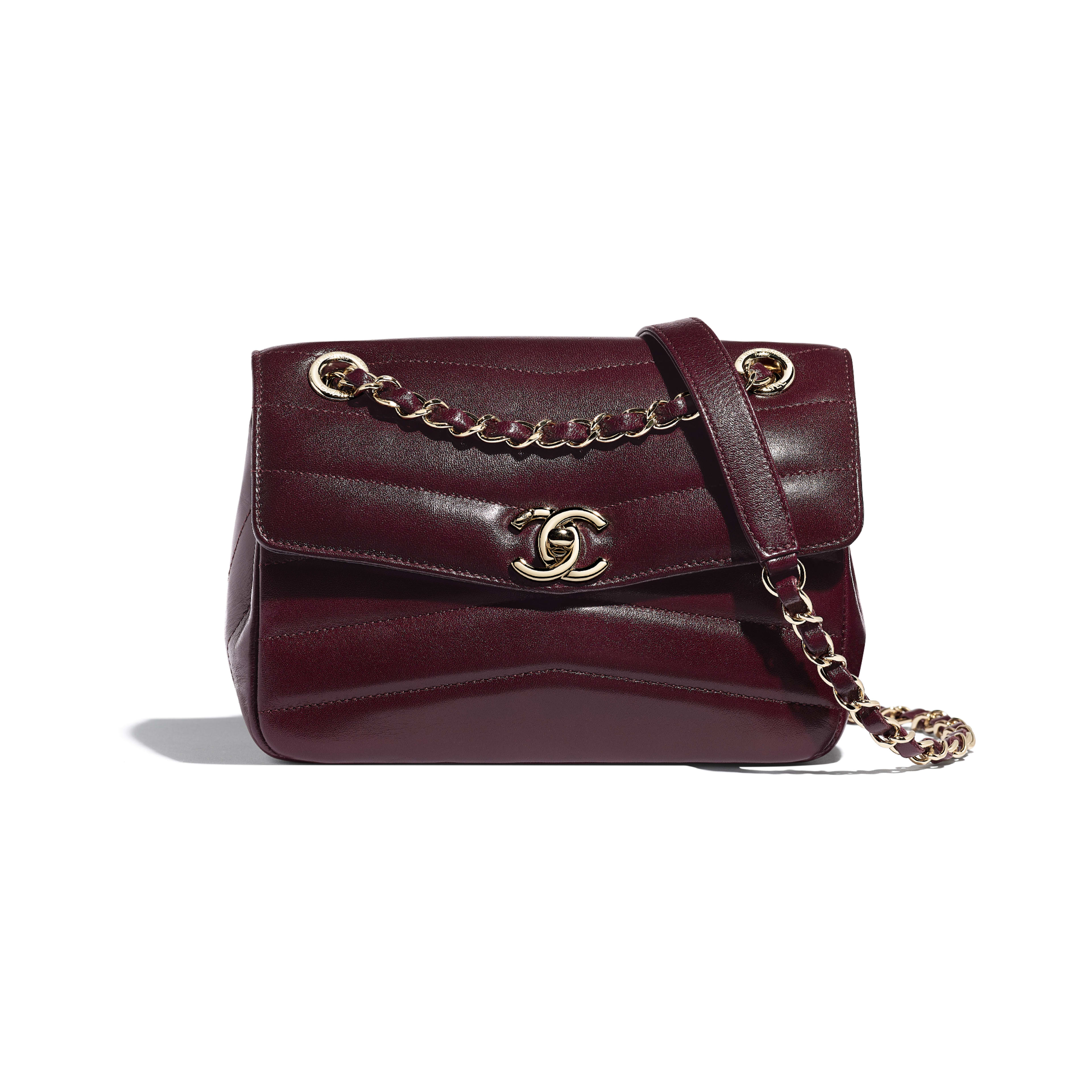 Flap Bag - Burgundy - Lambskin - Default view - see full sized version