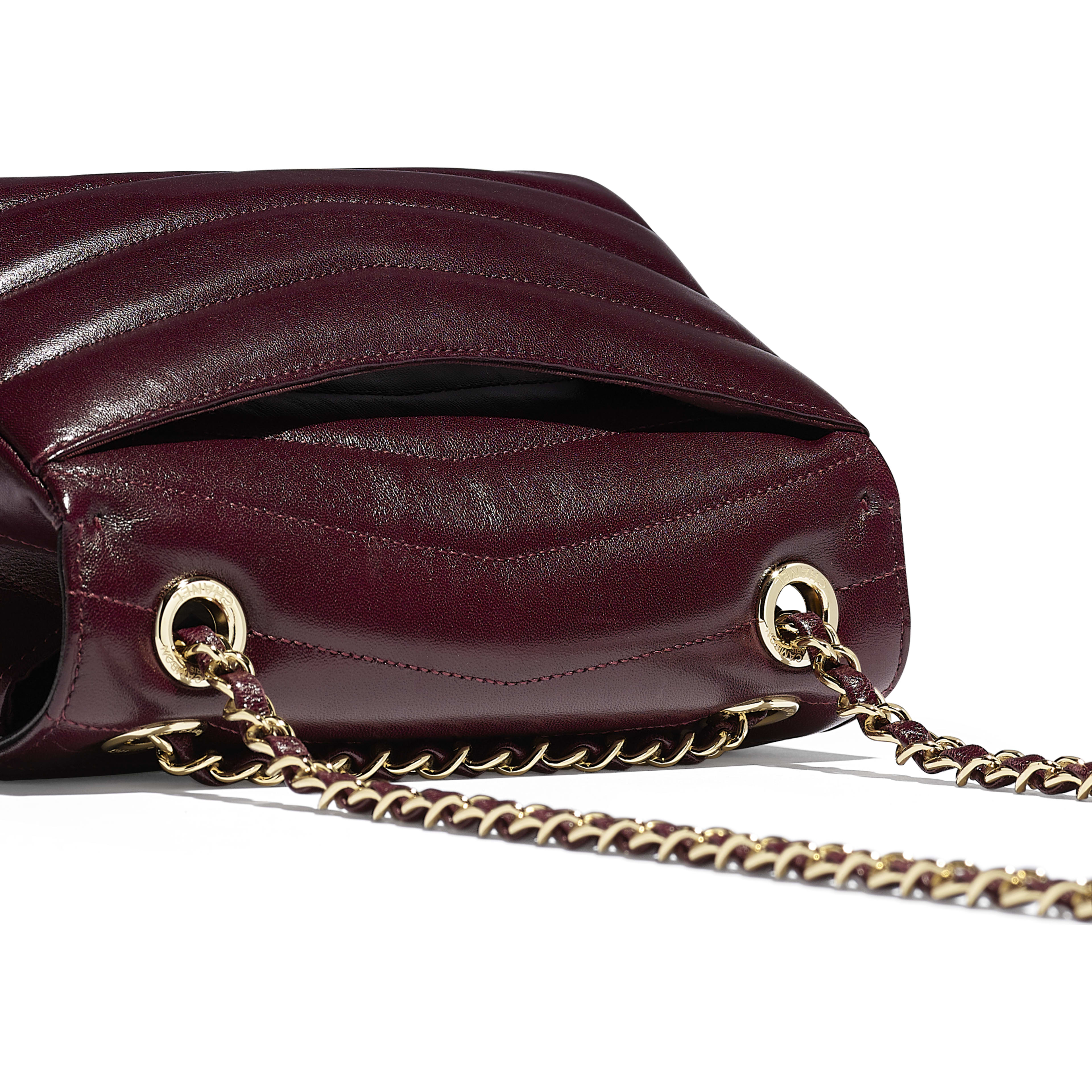 Flap Bag - Burgundy - Lambskin - Extra view - see full sized version