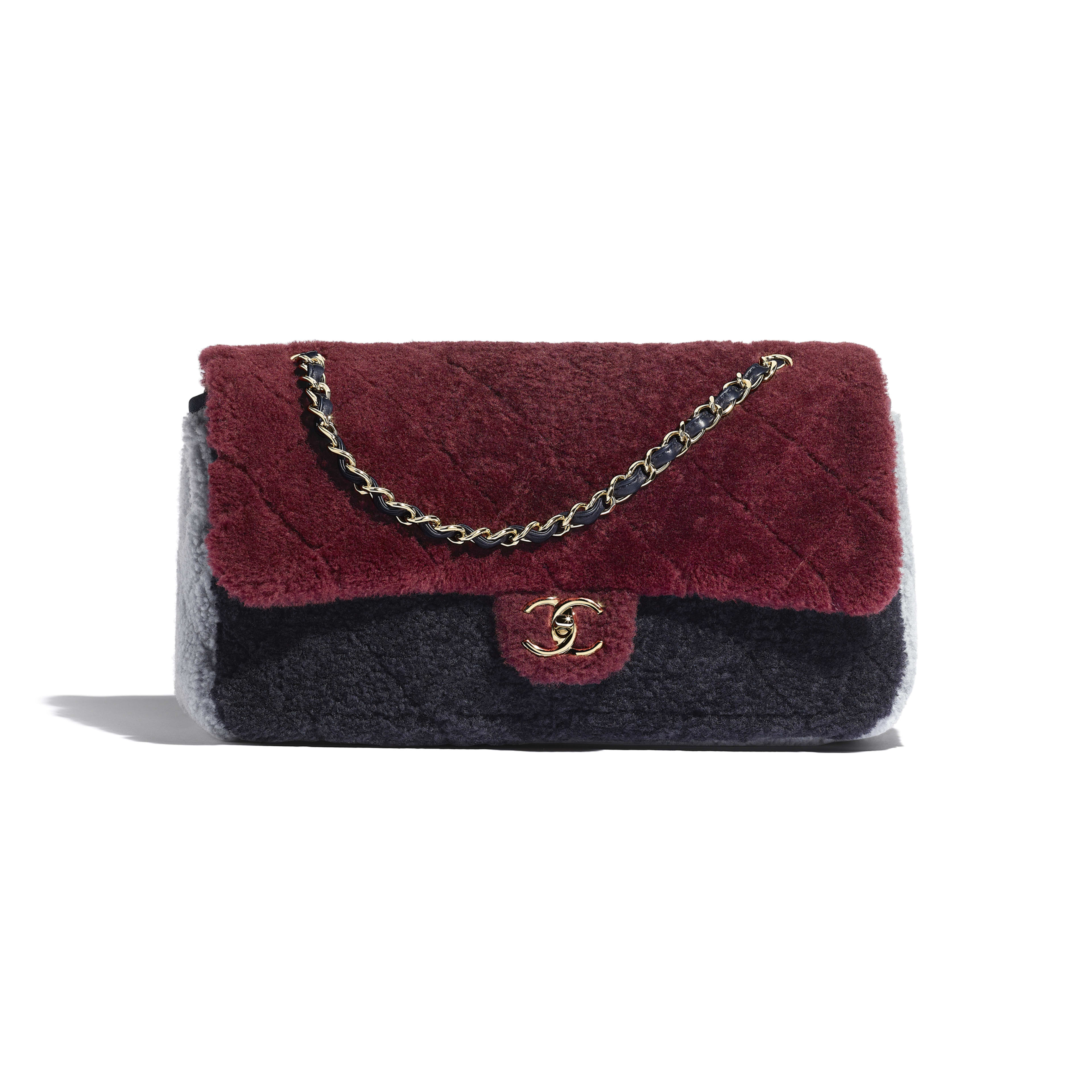 Flap Bag - Burgundy, Navy Blue & Gray - Shearling Sheepskin & Gold-Tone Metal - Default view - see full sized version