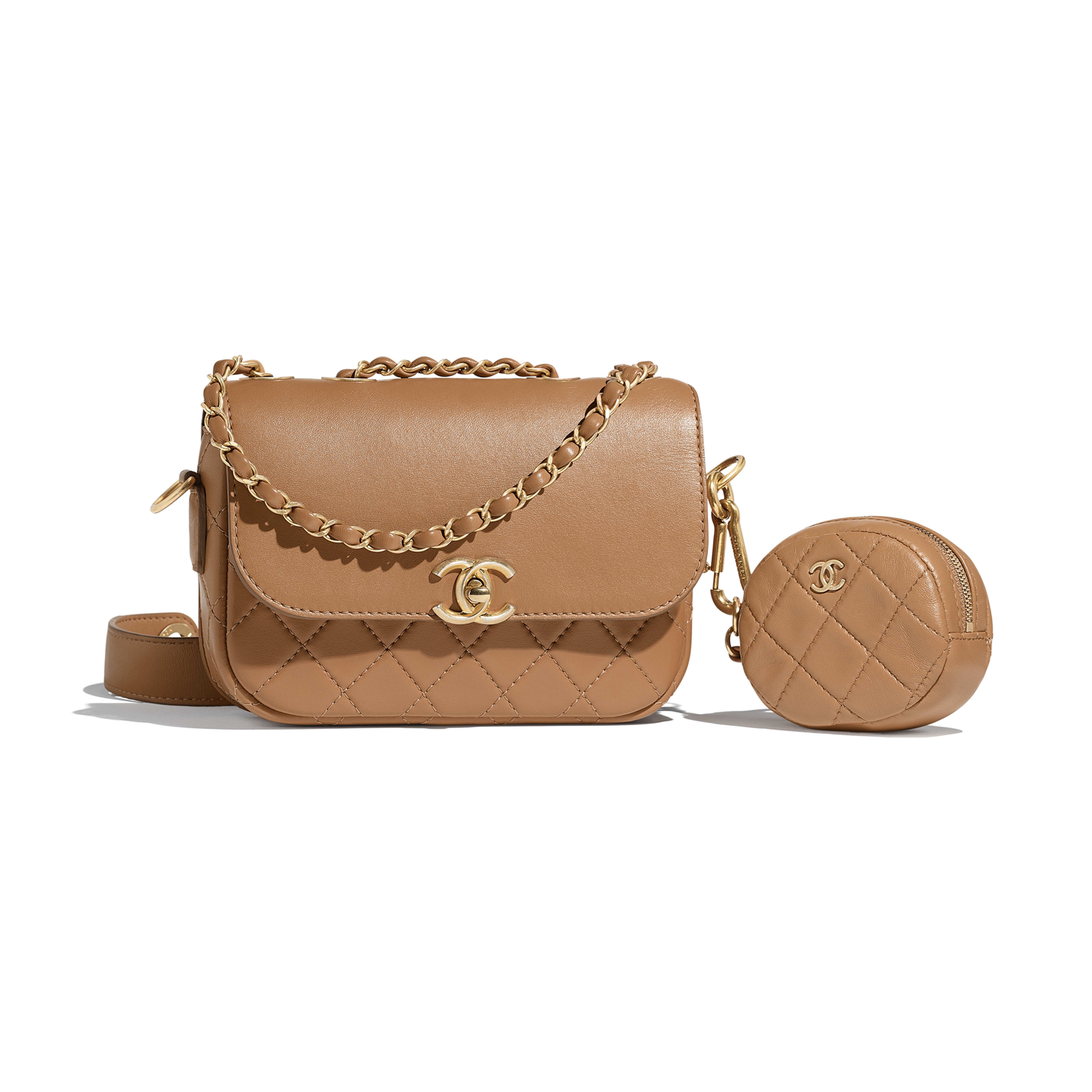 Flap Bag & Coin Purse - Beige - Calfskin & Gold-Tone Metal - Default view - see full sized version