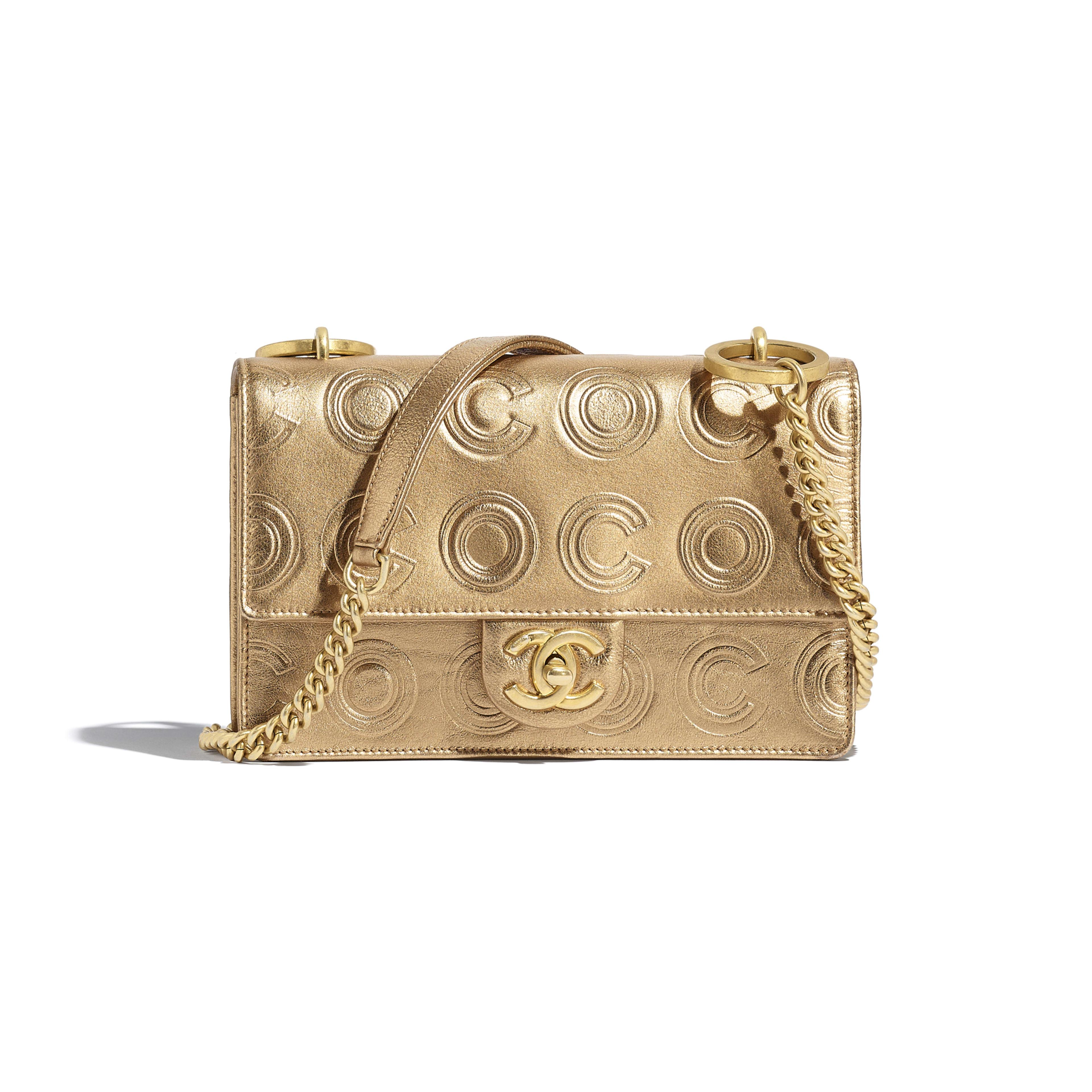 Сумка-конверт - Золотистый - Металлизированная кожа теленка и золотистый металл - Вид по умолчанию - посмотреть полноразмерное изображение