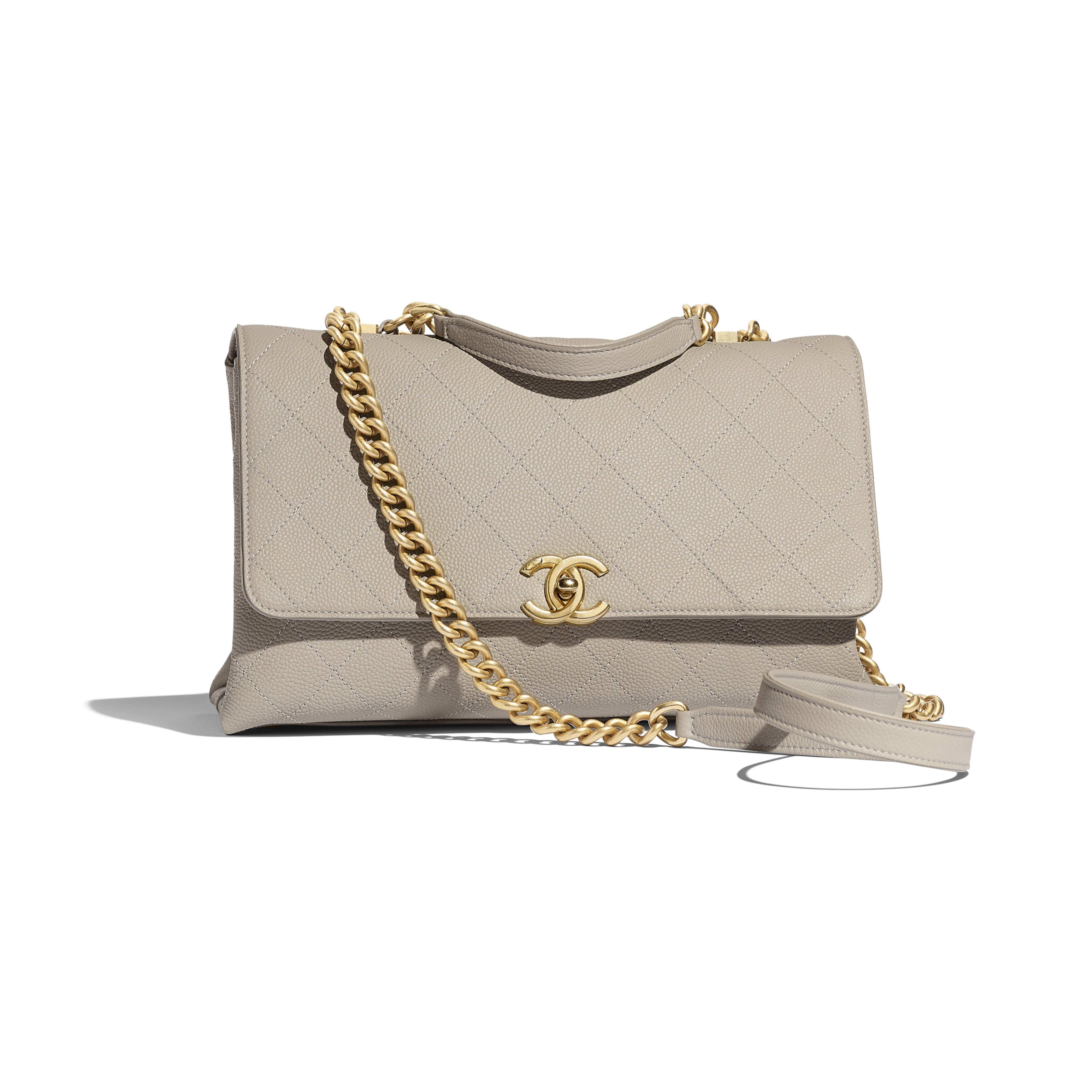 54fc332f3f Flap Bag - Gray - Grained Calfskin   Gold-Tone Metal - Default view ...