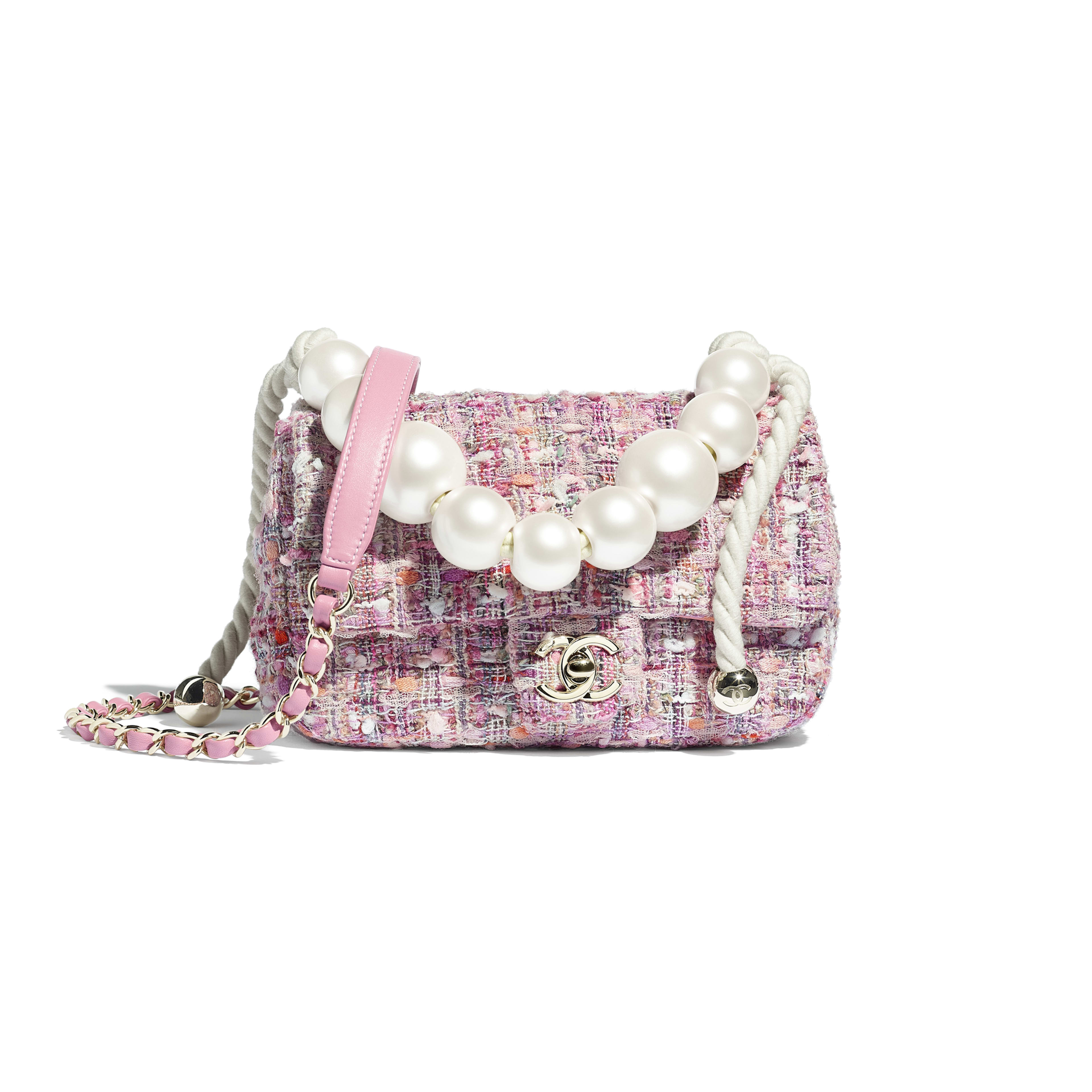 Tweed, Imitation Pearls & Gold-Tone Metal Pink, Beige, Orange & Ecru Flap Bag | CHANEL