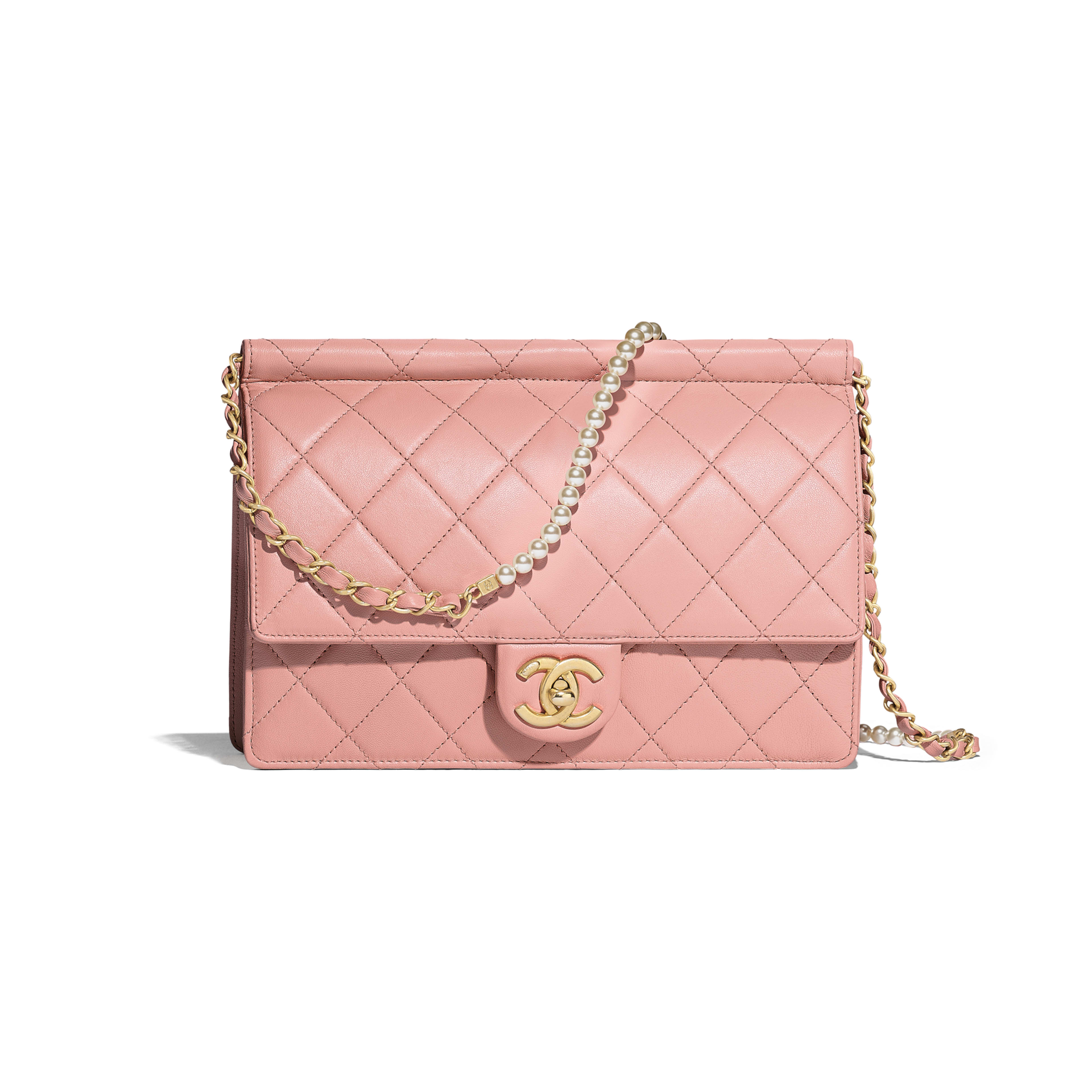 Flap Bag - Pink - Lambskin, Imitation Pearls & Gold-Tone Metal - Default view - see full sized version