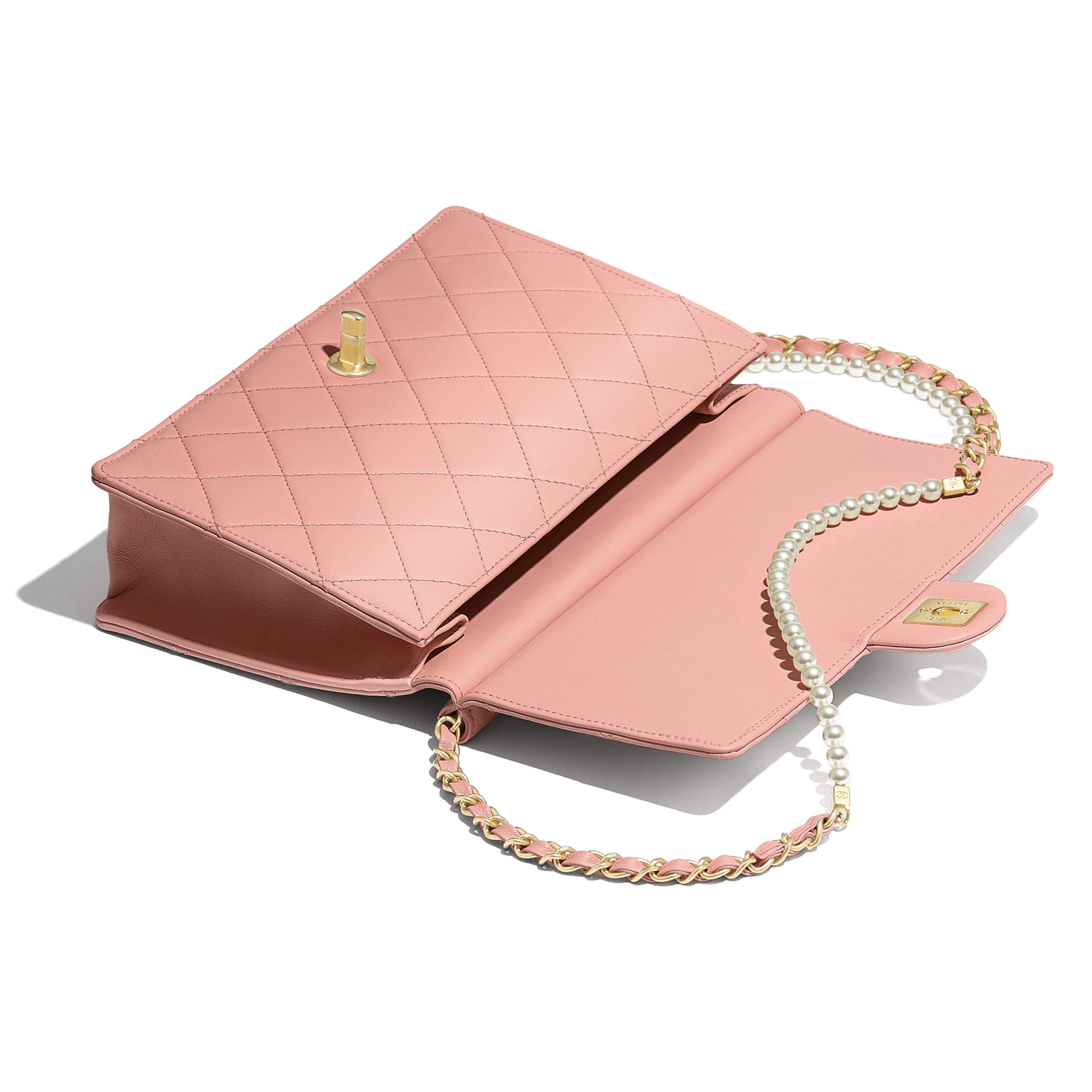 Flap Bag - Pink - Lambskin, Imitation Pearls & Gold-Tone Metal - Other view - see full sized version