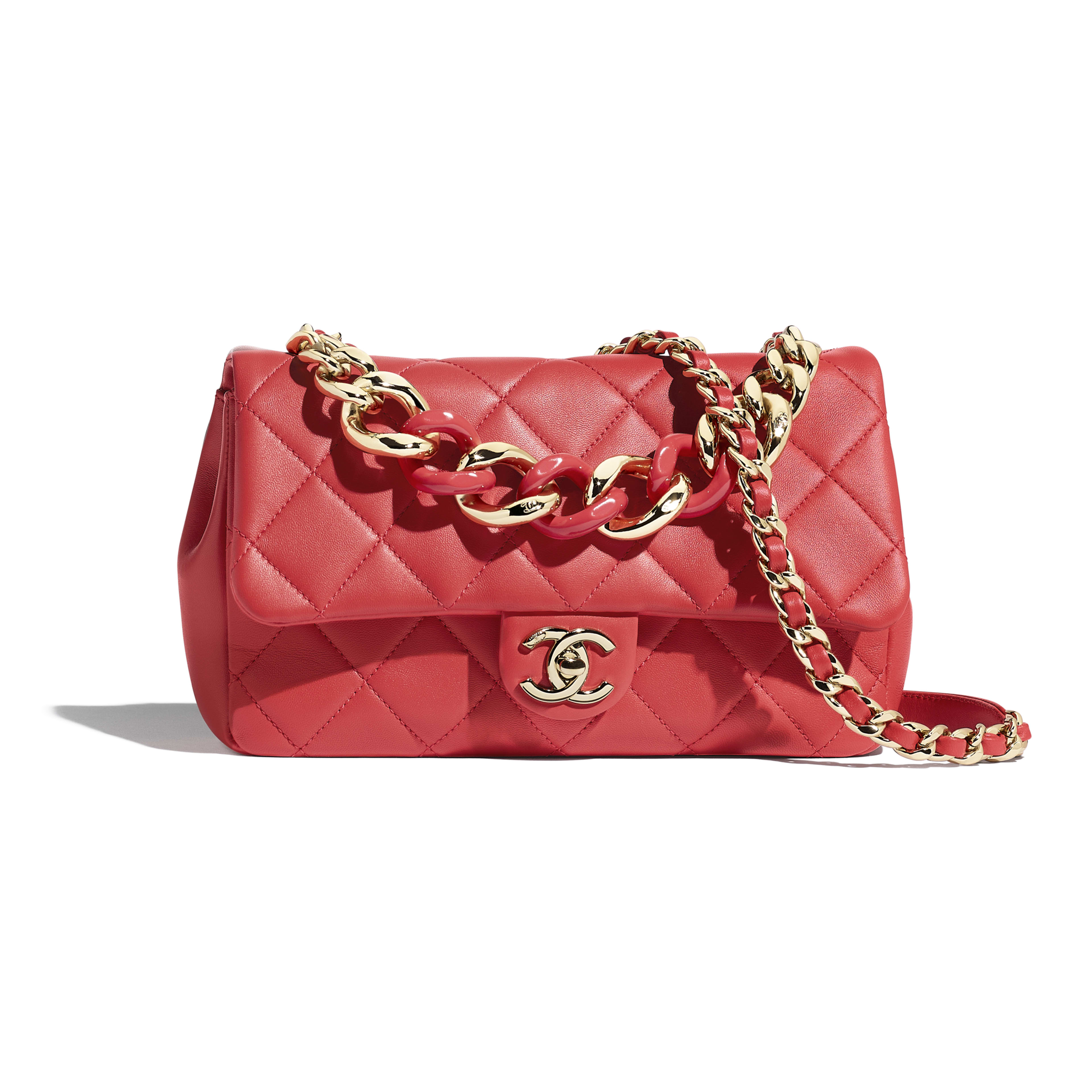 Flap Bag - Red - Lambskin, Resin & Gold-Tone Metal - Default view - see full sized version