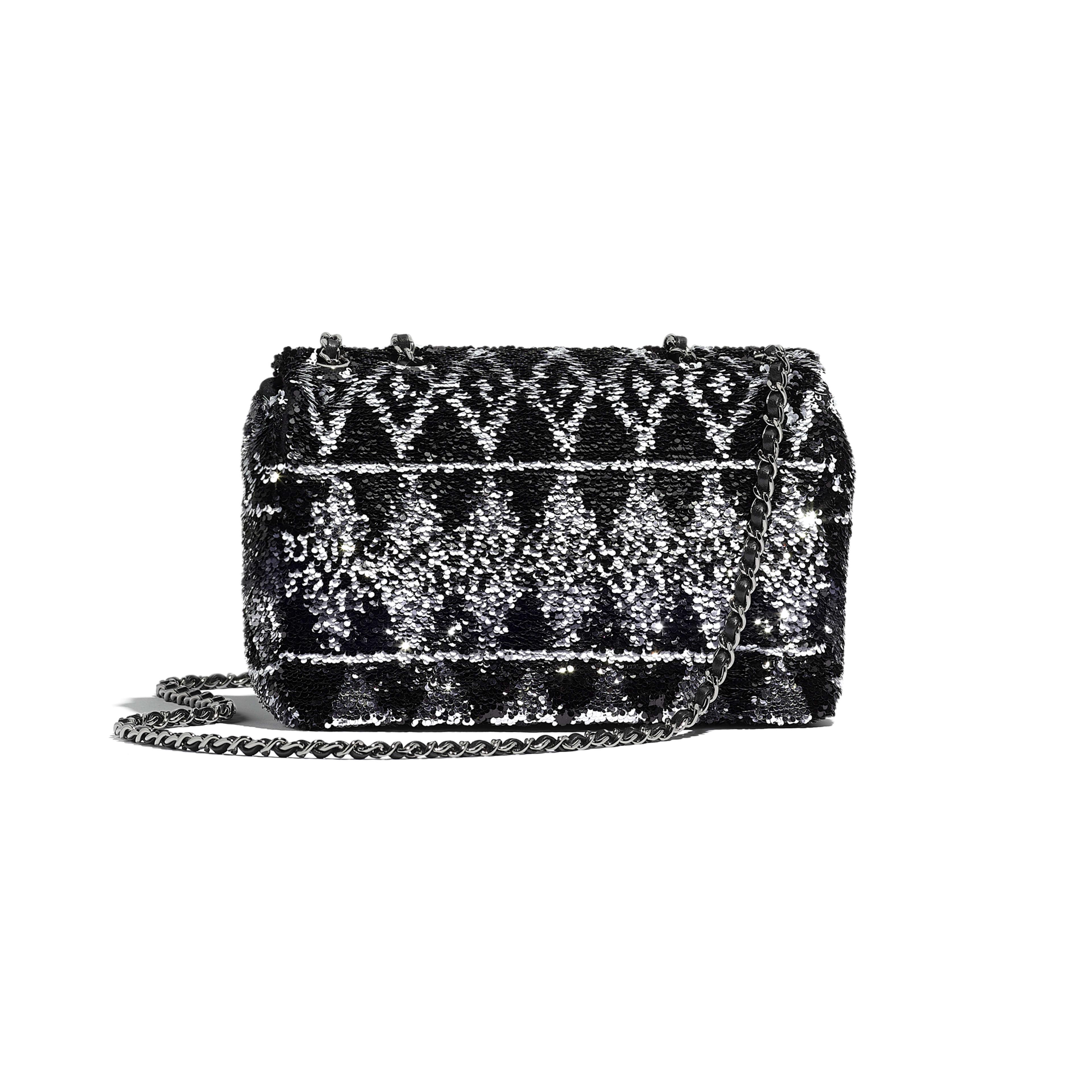 Flap Bag - Silver & Black - Sequins & Ruthenium-Finish Metal - Alternative view - see full sized version