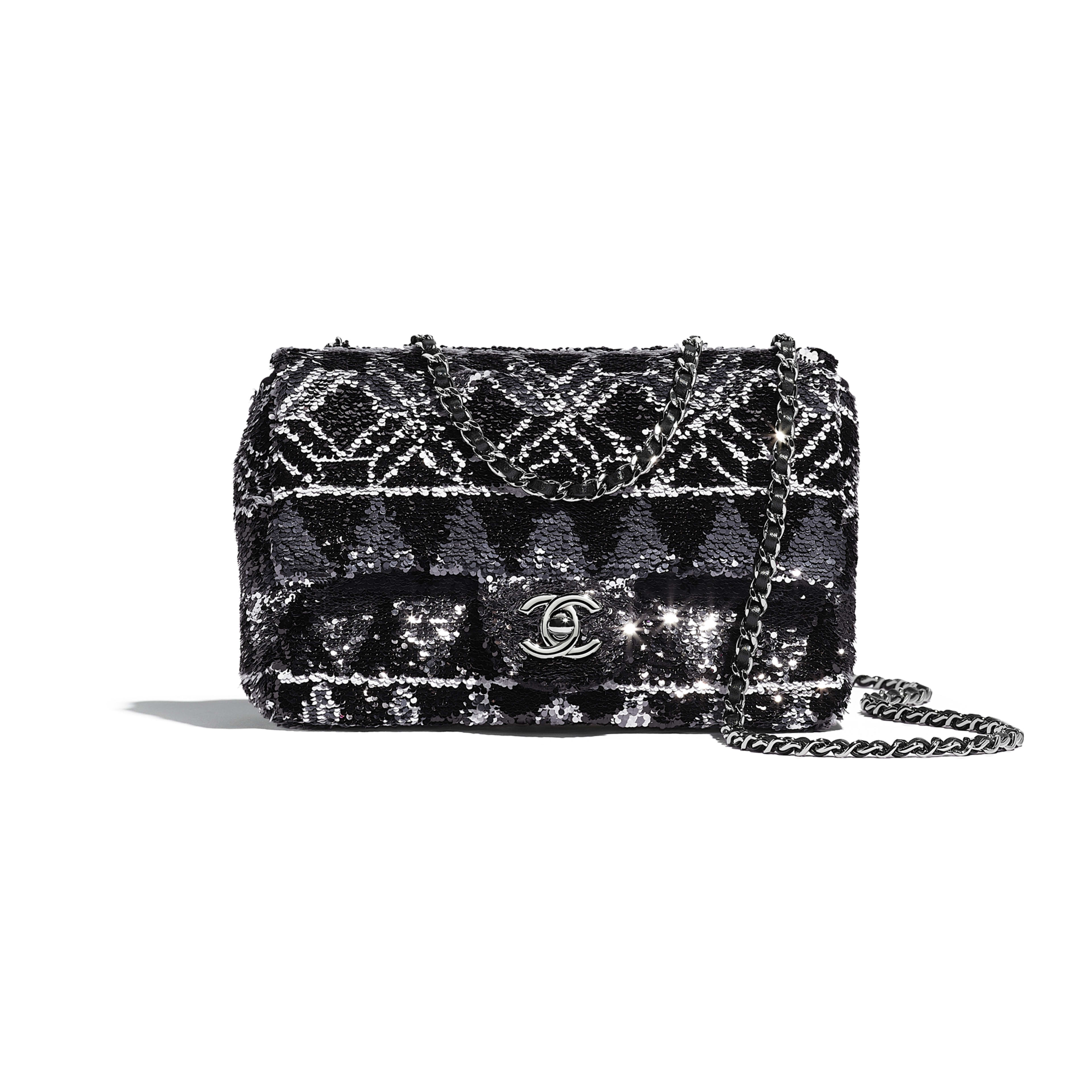 Flap Bag - Silver & Black - Sequins & Ruthenium-Finish Metal - Default view - see full sized version