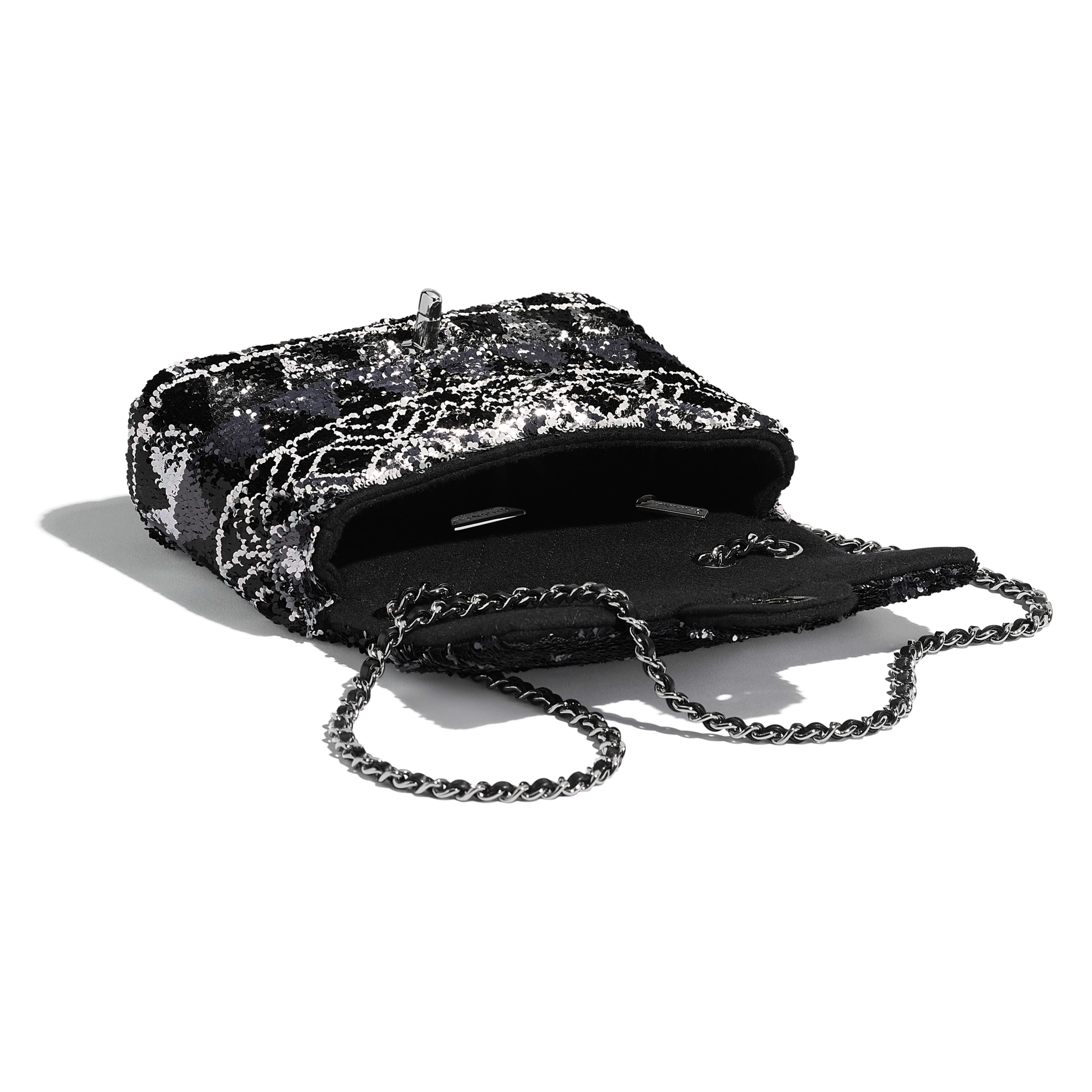 Flap Bag - Silver & Black - Sequins & Ruthenium-Finish Metal - Other view - see full sized version
