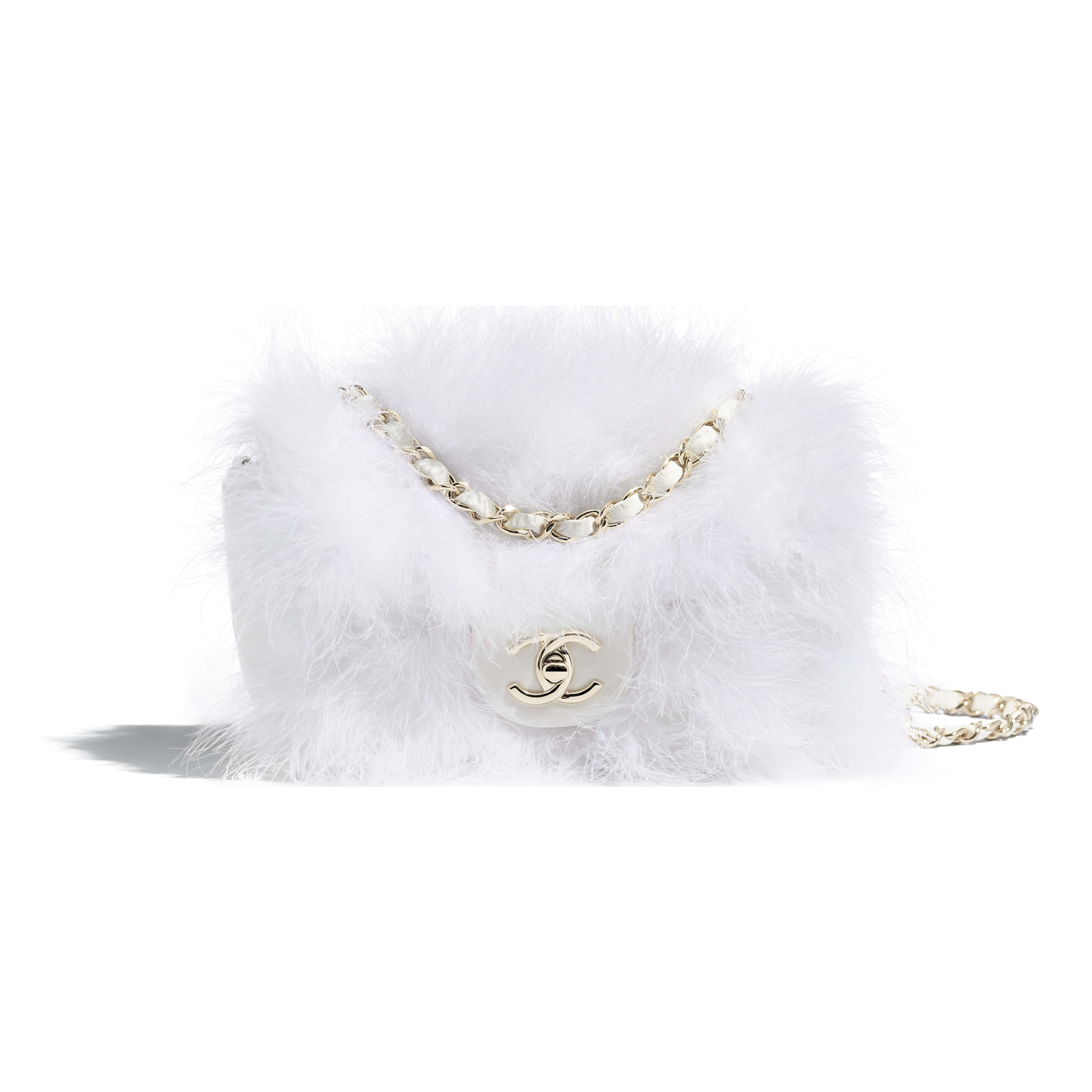 Flap Bag - White - Feathers, Lambskin & Gold-Tone Metal - Default view - see full sized version