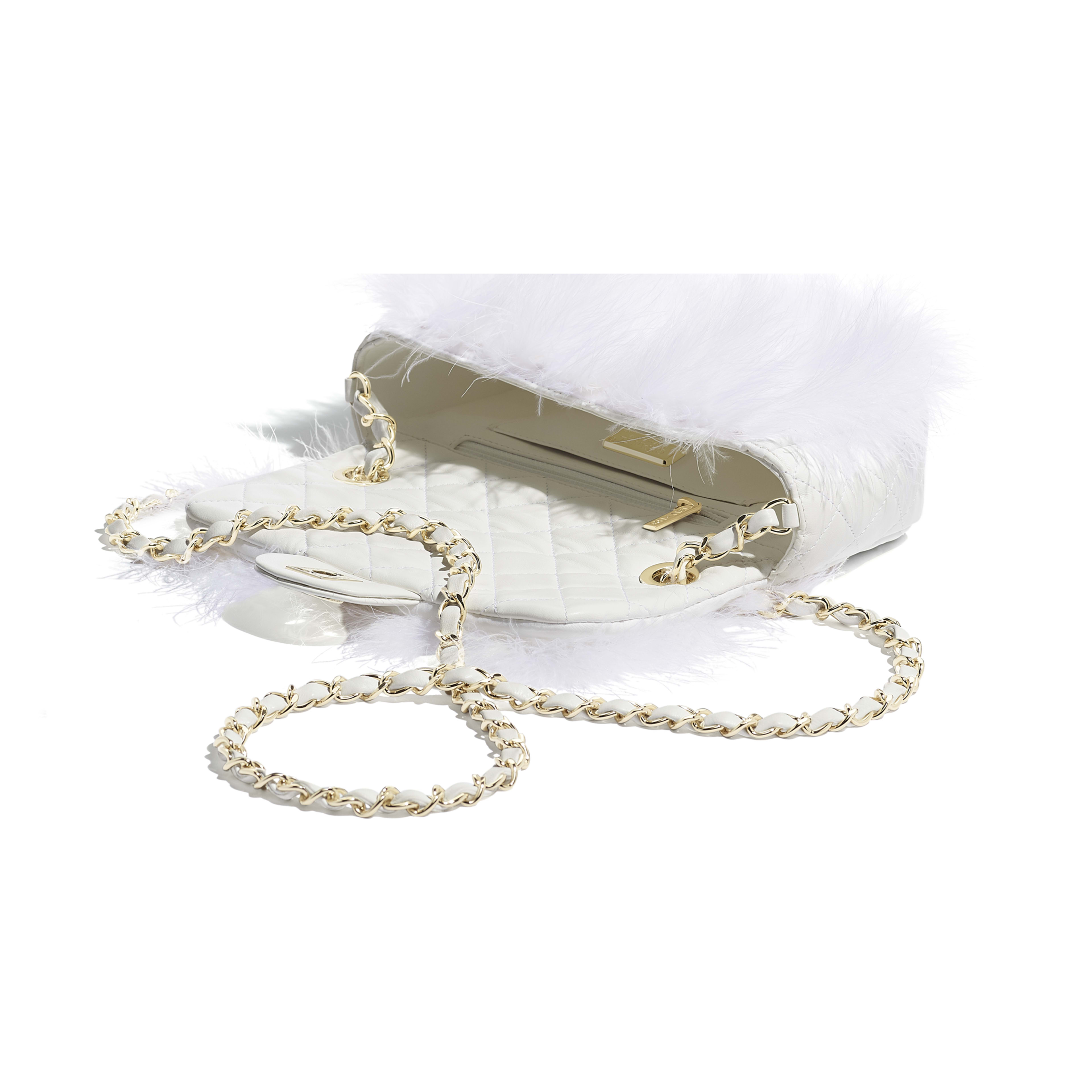Flap Bag - White - Feathers, Lambskin & Gold-Tone Metal - Other view - see full sized version