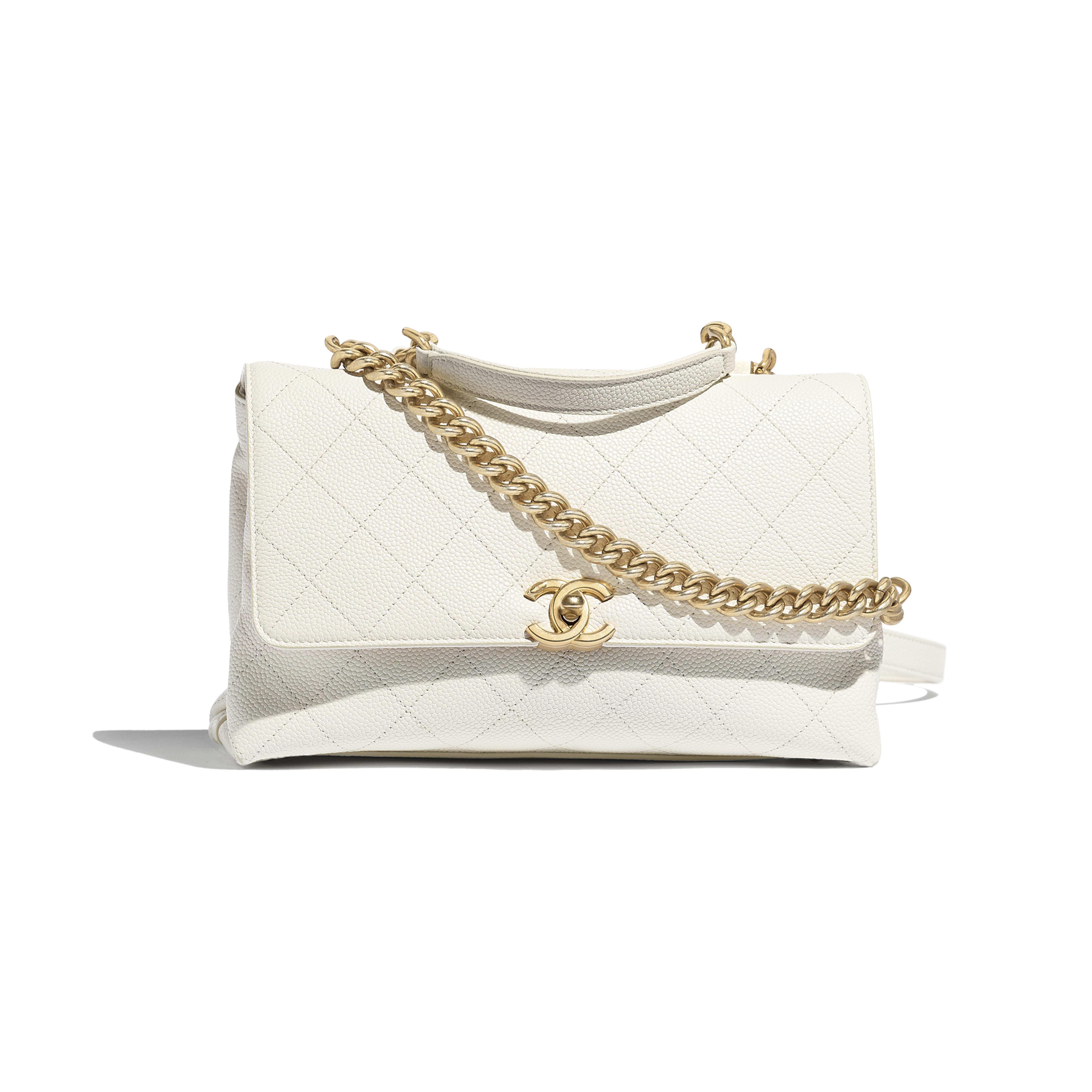 4c116cea2f Flap Bag - White - Grained Calfskin   Gold-Tone Metal - Default view ...