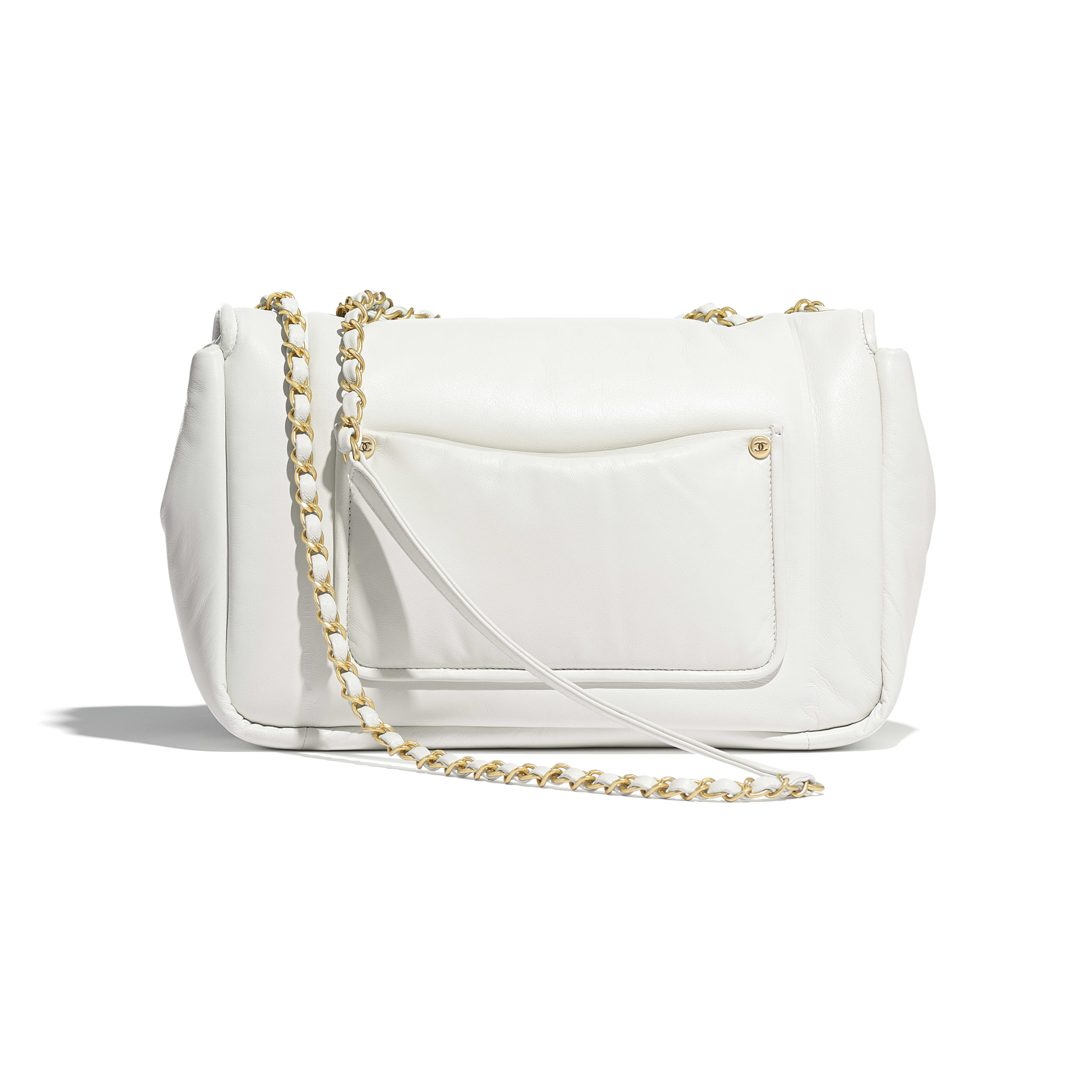 Flap Bag - White - Lambskin & Gold-Tone Metal - Alternative view - see full sized version