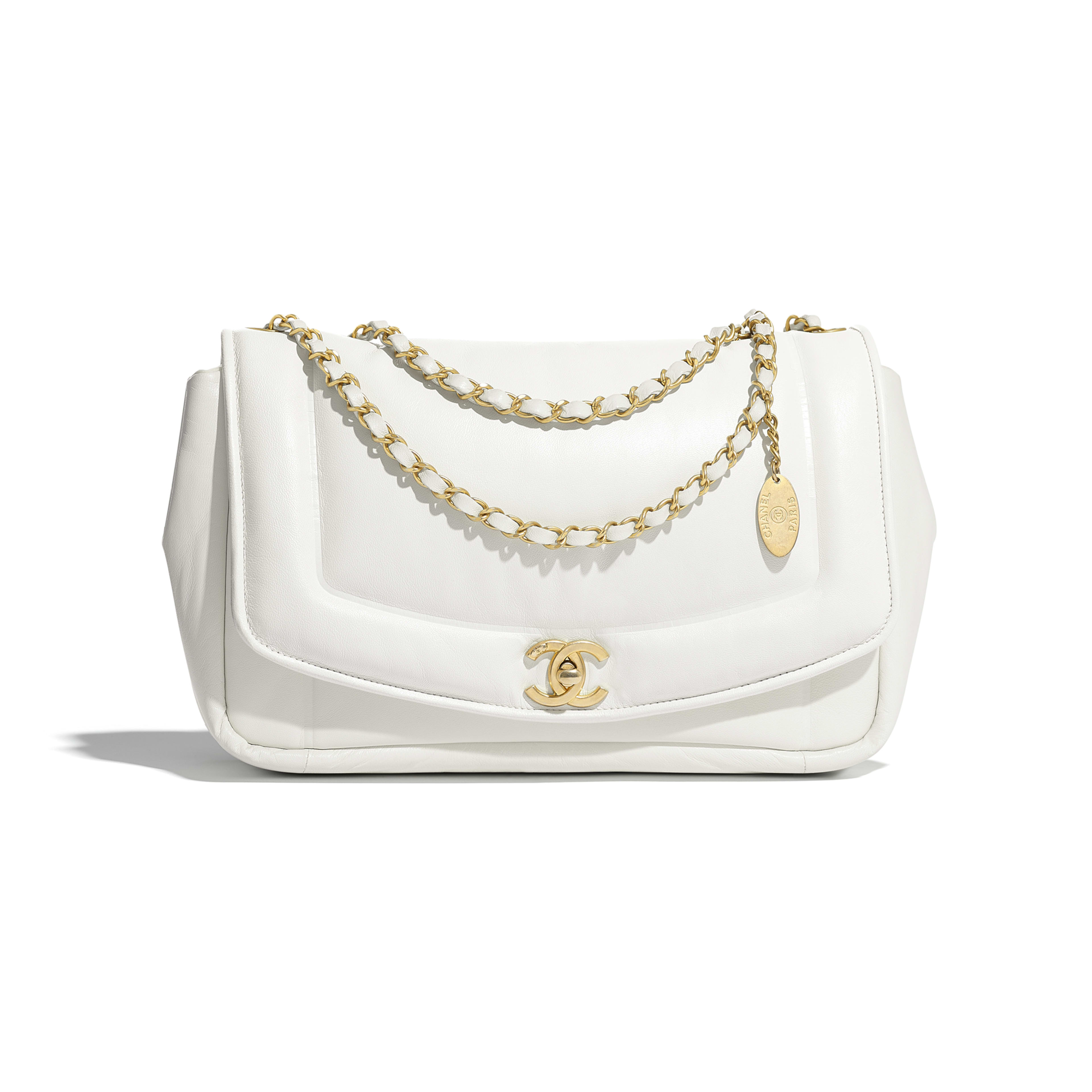 Flap Bag - White - Lambskin & Gold-Tone Metal - Default view - see full sized version