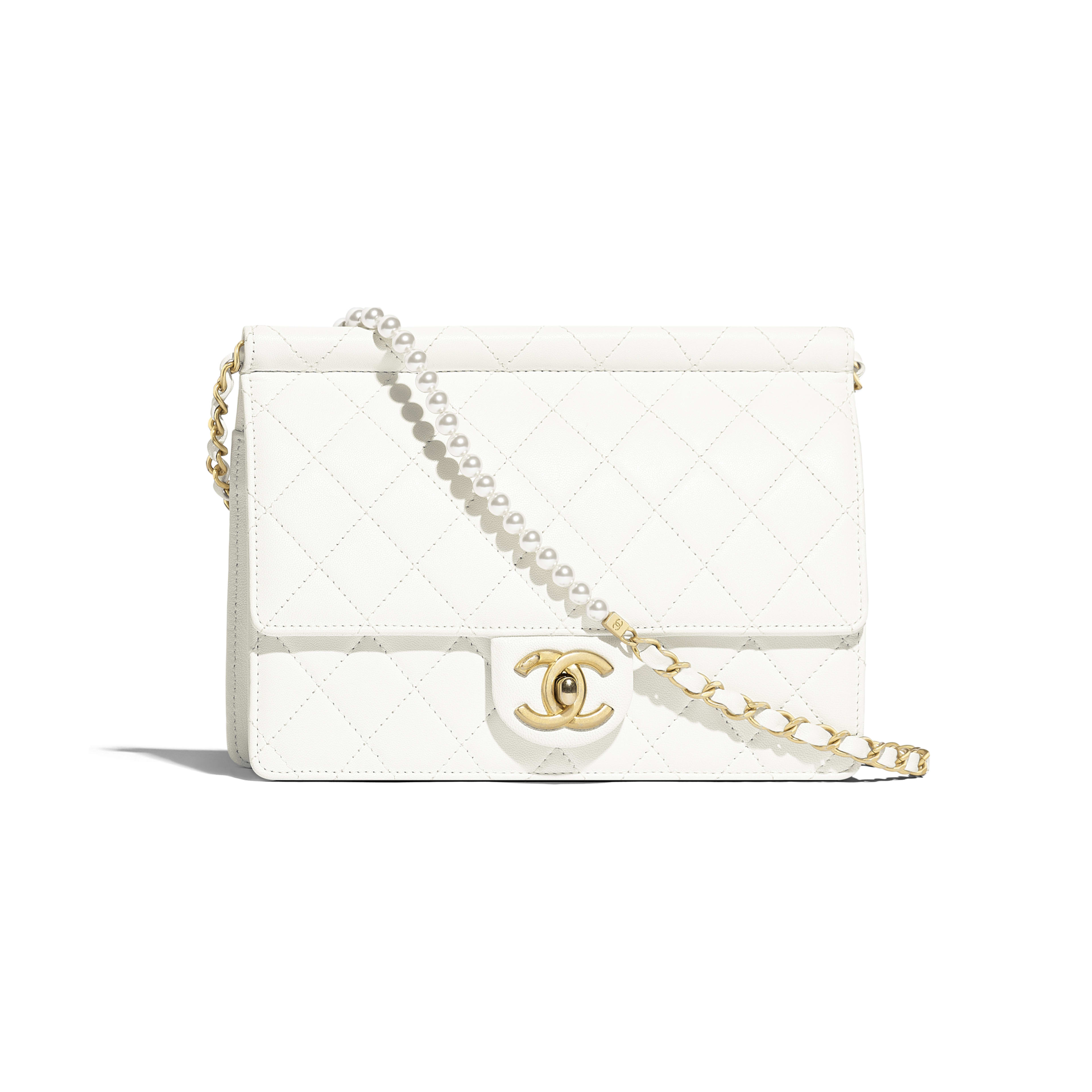 Flap Bag - White - Lambskin, Imitation Pearls & Gold-Tone Metal - Default view - see full sized version