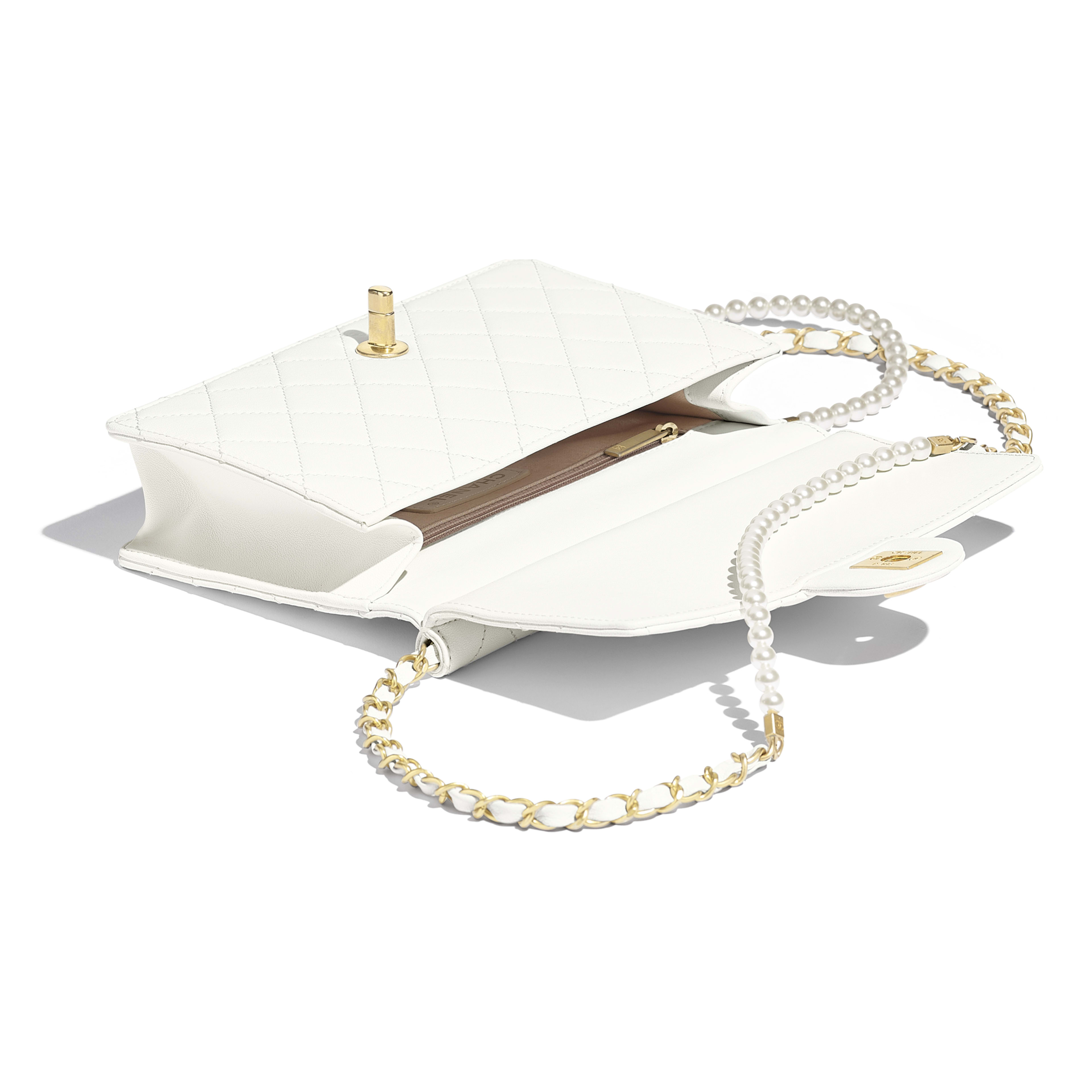Flap Bag - White - Lambskin, Imitation Pearls & Gold-Tone Metal - Other view - see full sized version
