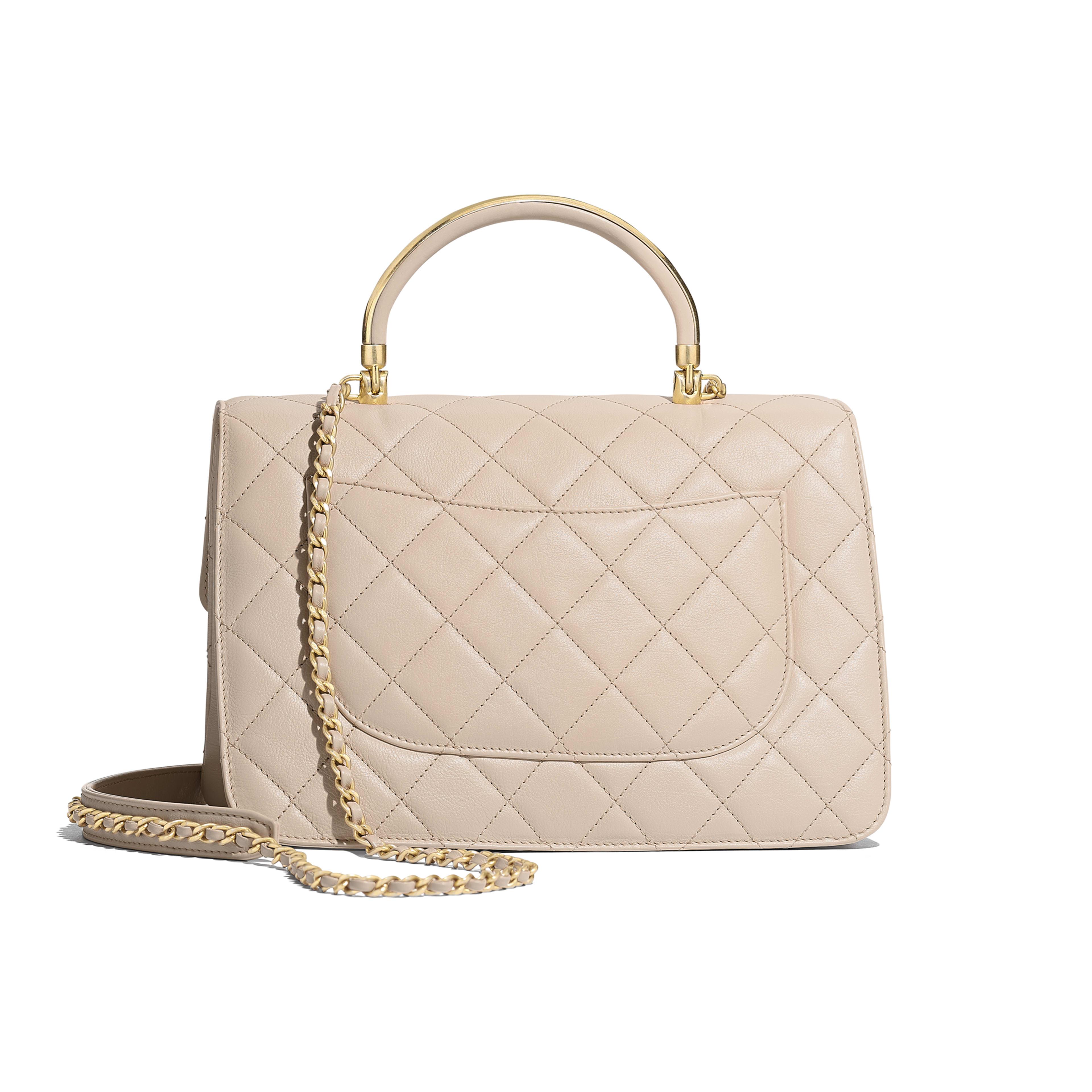 68952d44da13 Flap Bag with Top Handle - Beige - Calfskin   Gold-Tone Metal - Alternative  ...