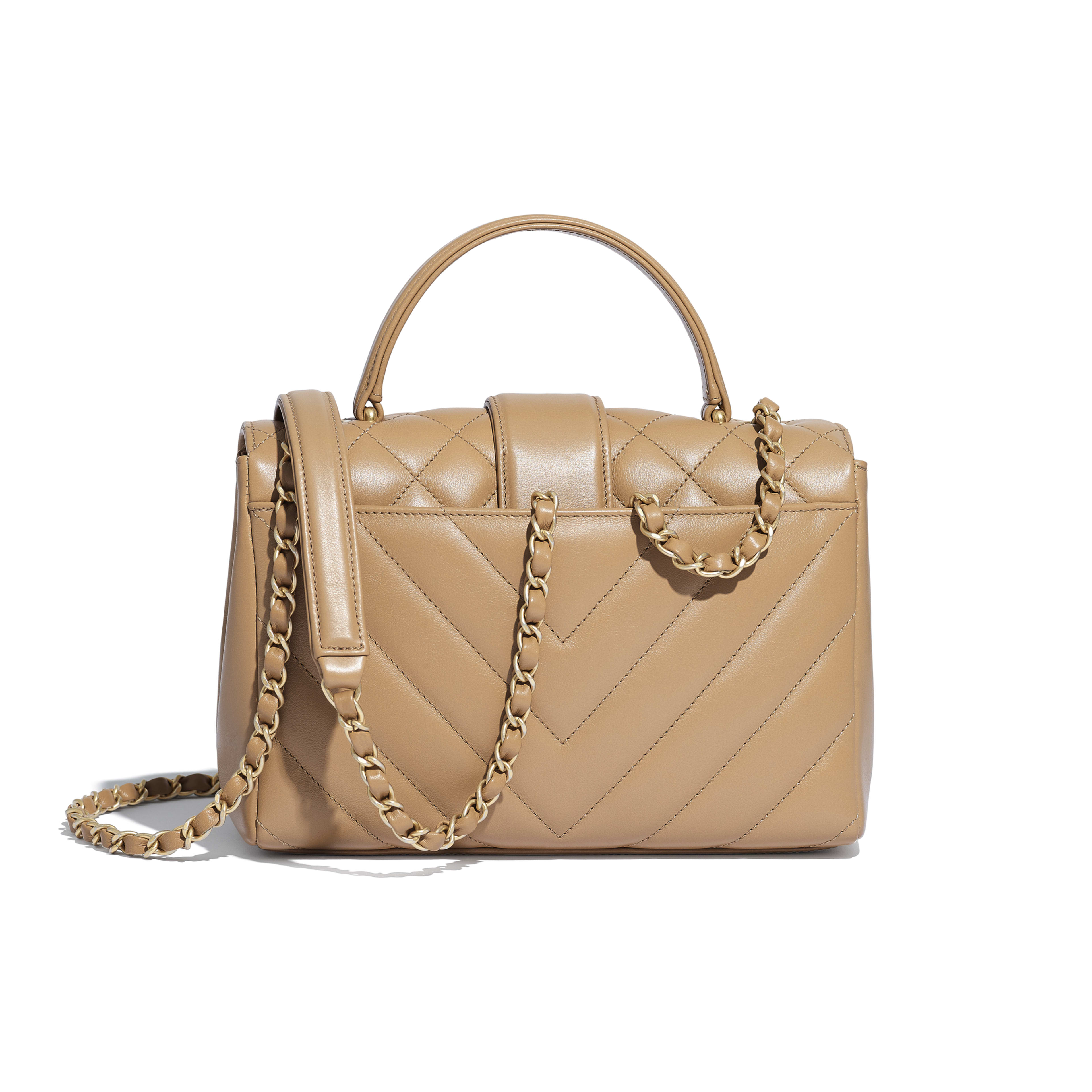 Flap Bag with Top Handle - Beige - Calfskin & Gold-Tone Metal - Alternative view - see full sized version