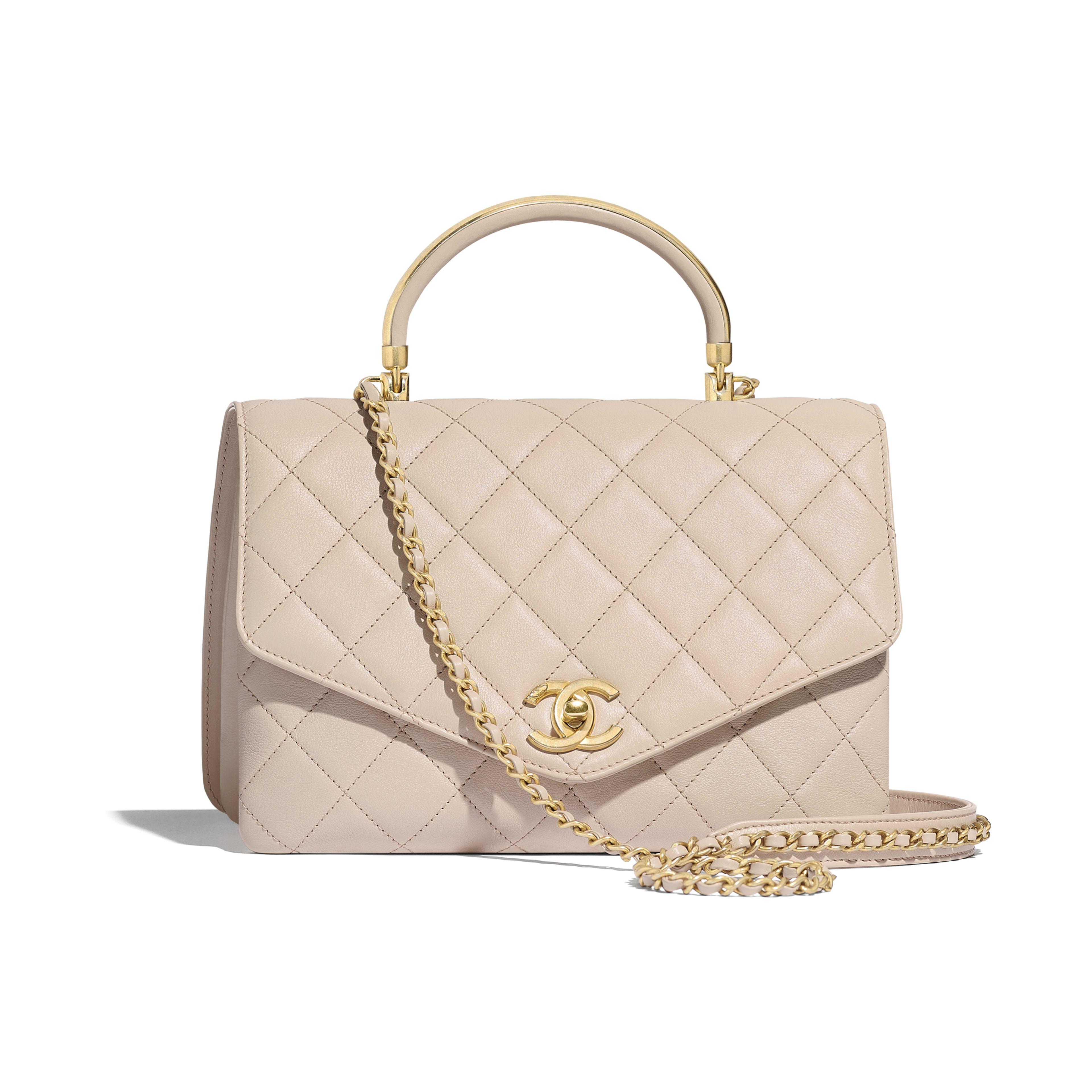 0bda387b58 Flap Bag with Top Handle - Beige - Calfskin   Gold-Tone Metal - Default ...