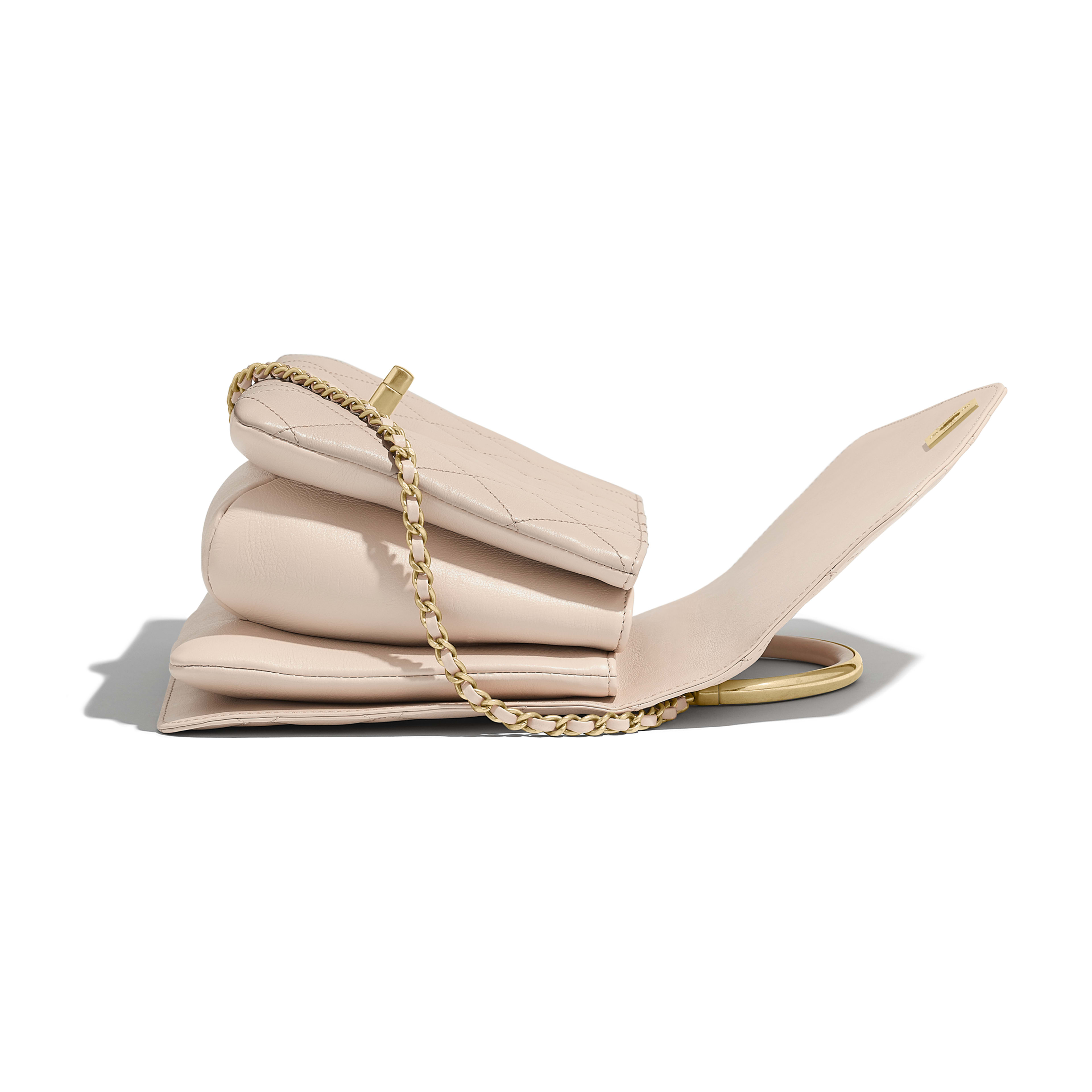 d0bed9fcb062 Flap Bag with Top Handle - Beige - Calfskin   Gold-Tone Metal - Other ...