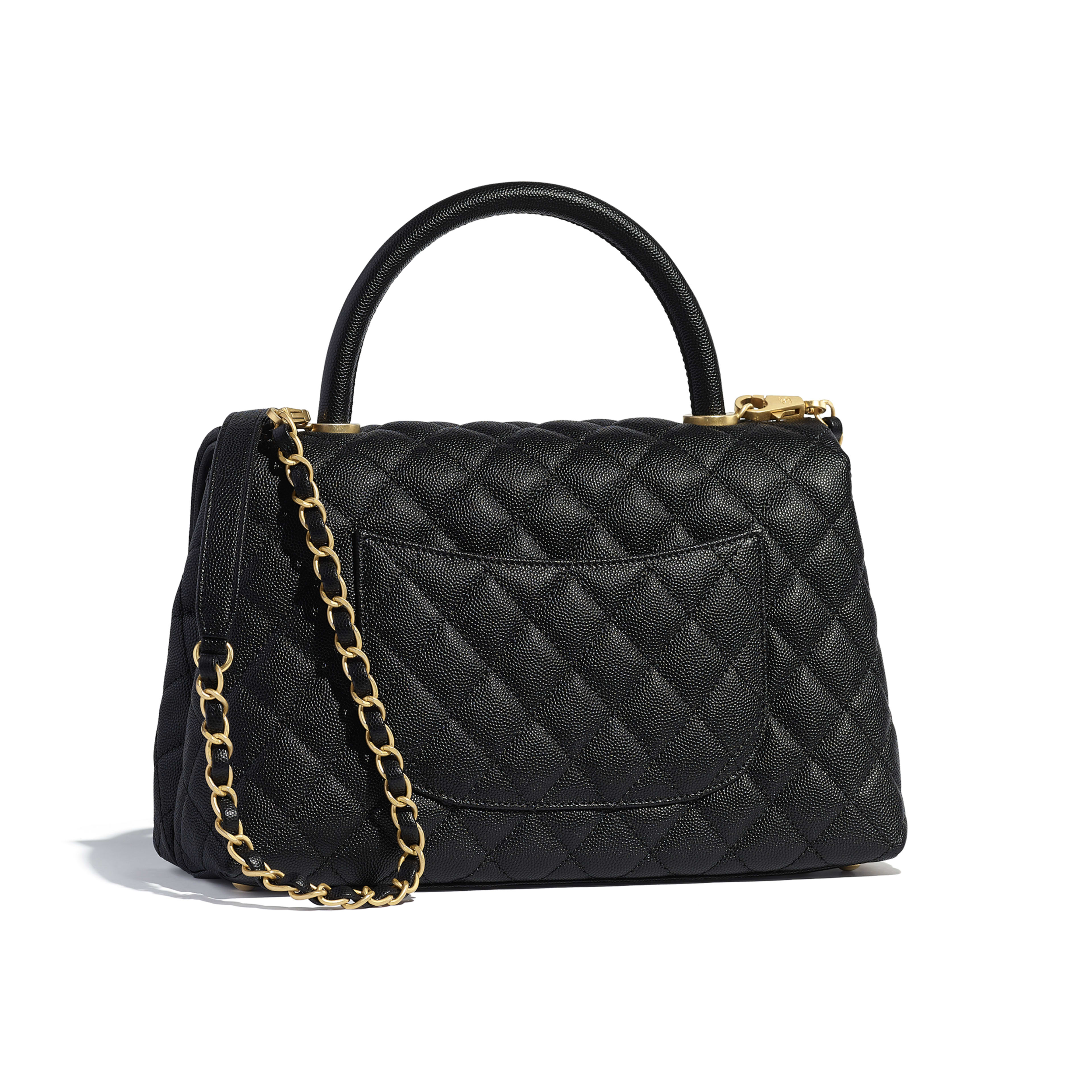 Flap Bag with Top Handle - Black - Grained Calfskin & Gold-Tone Metal - Alternative view - see full sized version