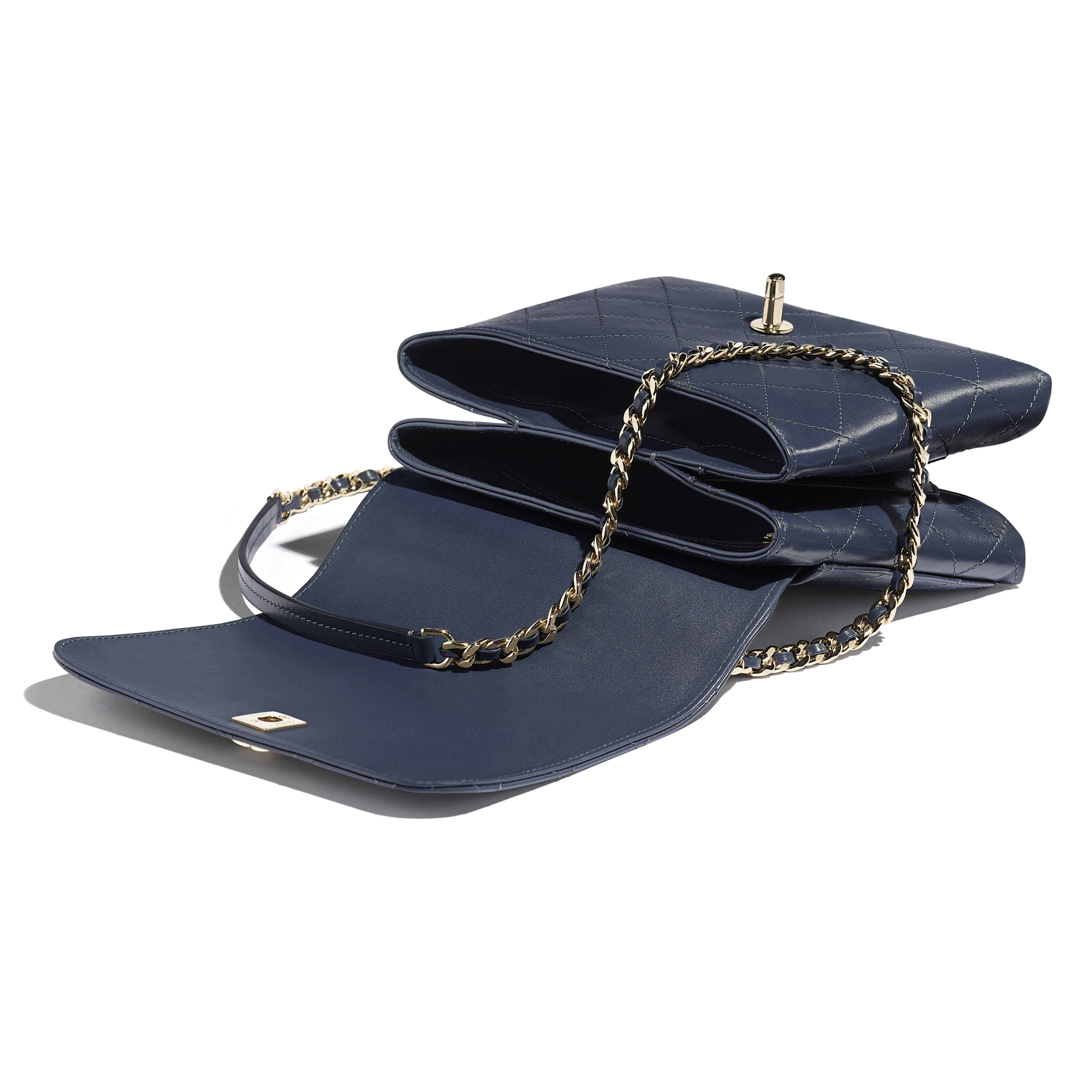 Flap Bag with Top Handle - Navy Blue - Calfskin & Gold-Tone Metal - Other view - see full sized version
