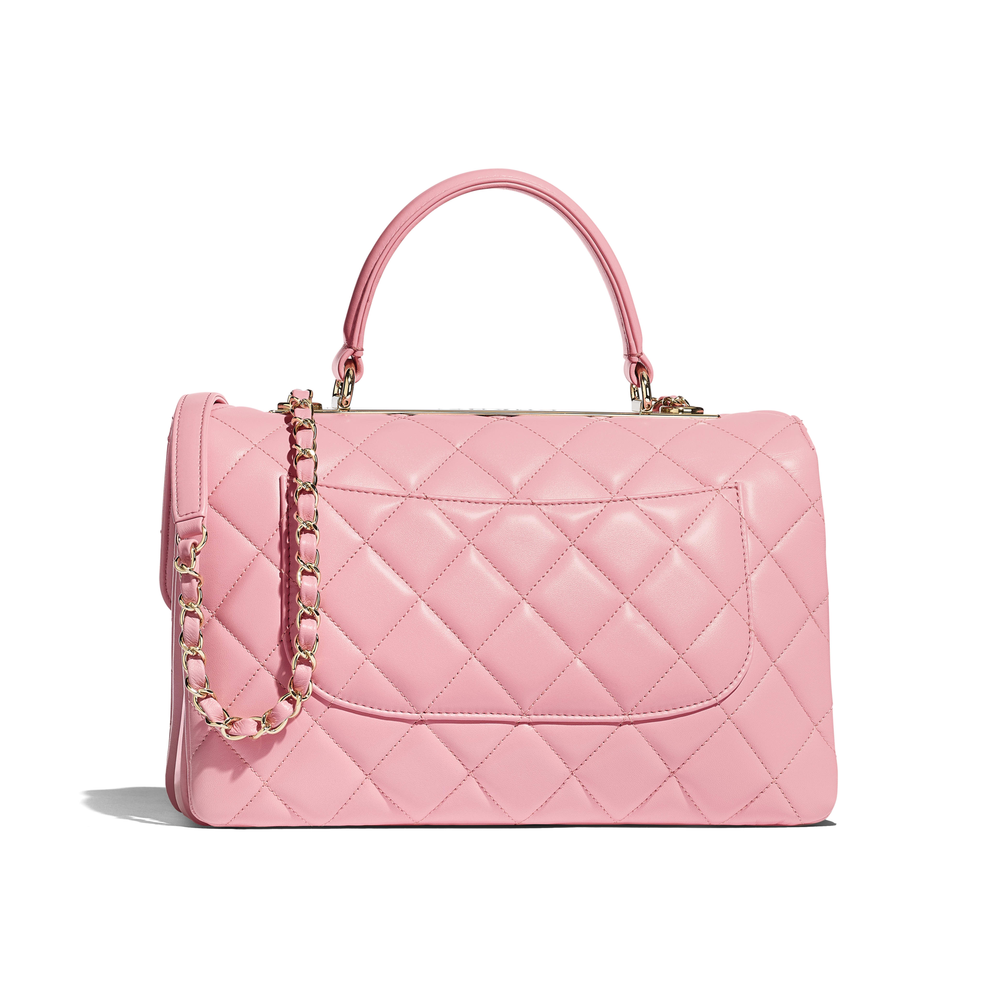 Flap Bag with Top Handle - Pink - Lambskin & Gold-Tone Metal - Alternative view - see full sized version