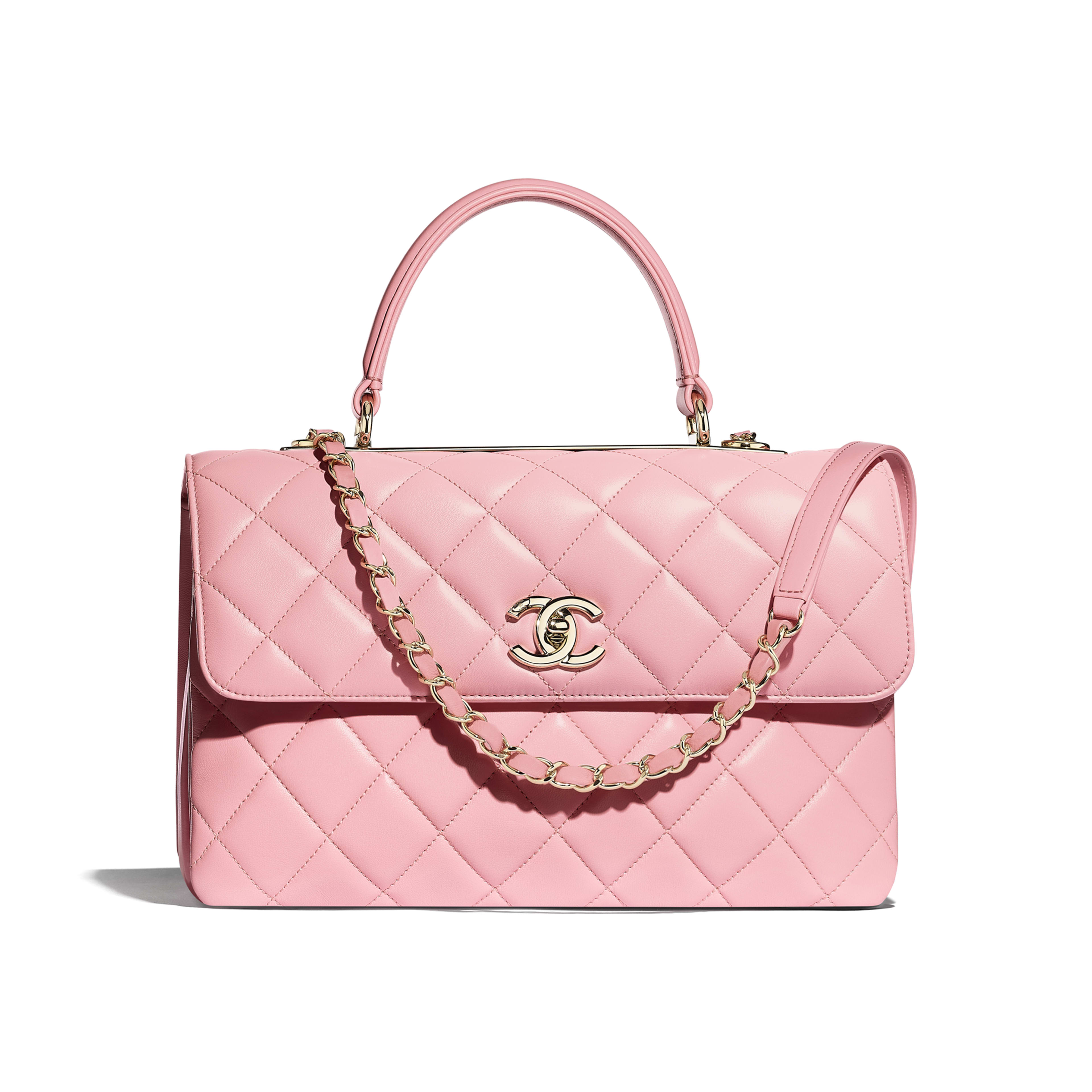 Flap Bag with Top Handle - Pink - Lambskin & Gold-Tone Metal - Default view - see full sized version