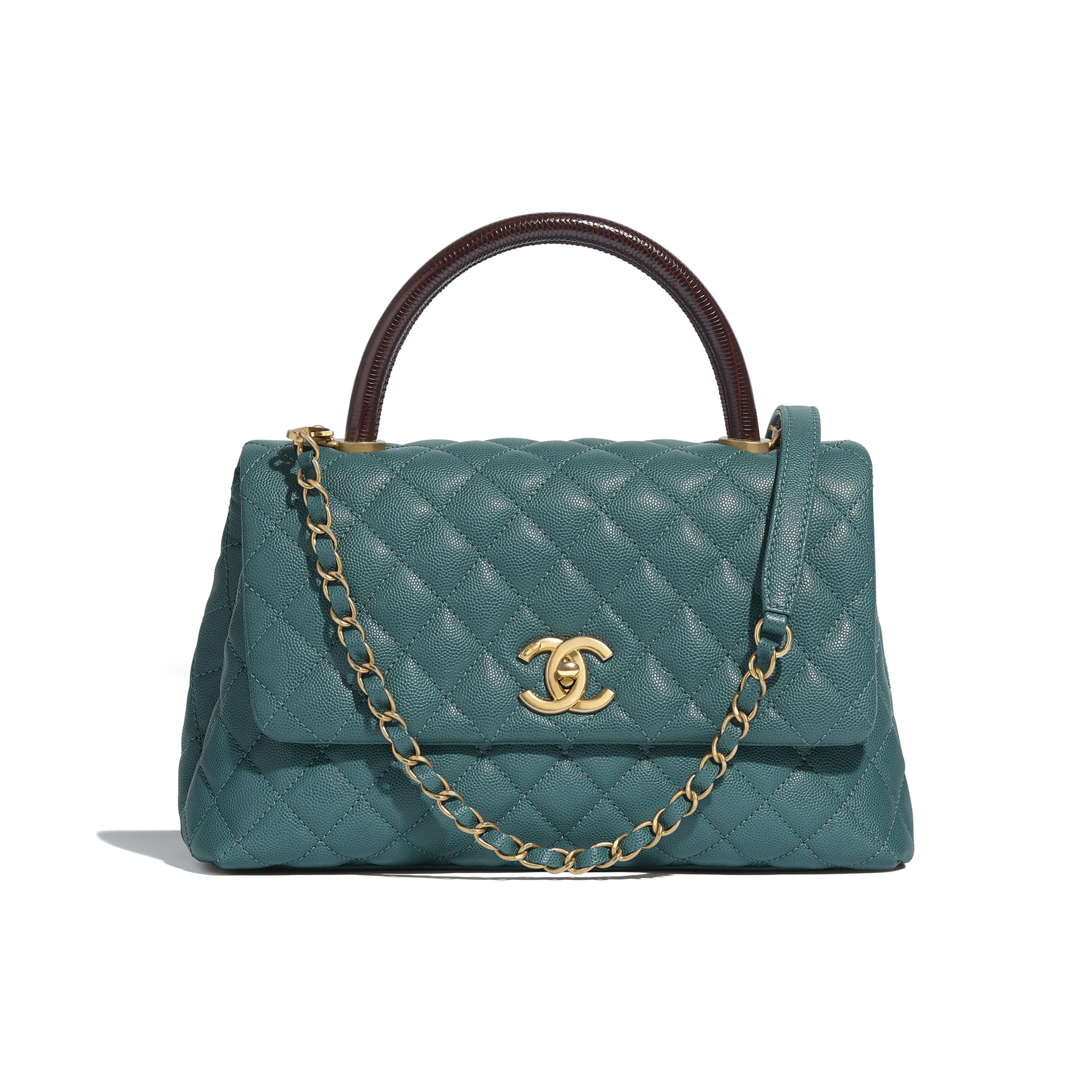 Flap Bag with Top Handle - Turquoise & Burgundy - Grained Calfskin, Lizard Embossed Calfskin & Gold-Tone Metal - Default view - see full sized version