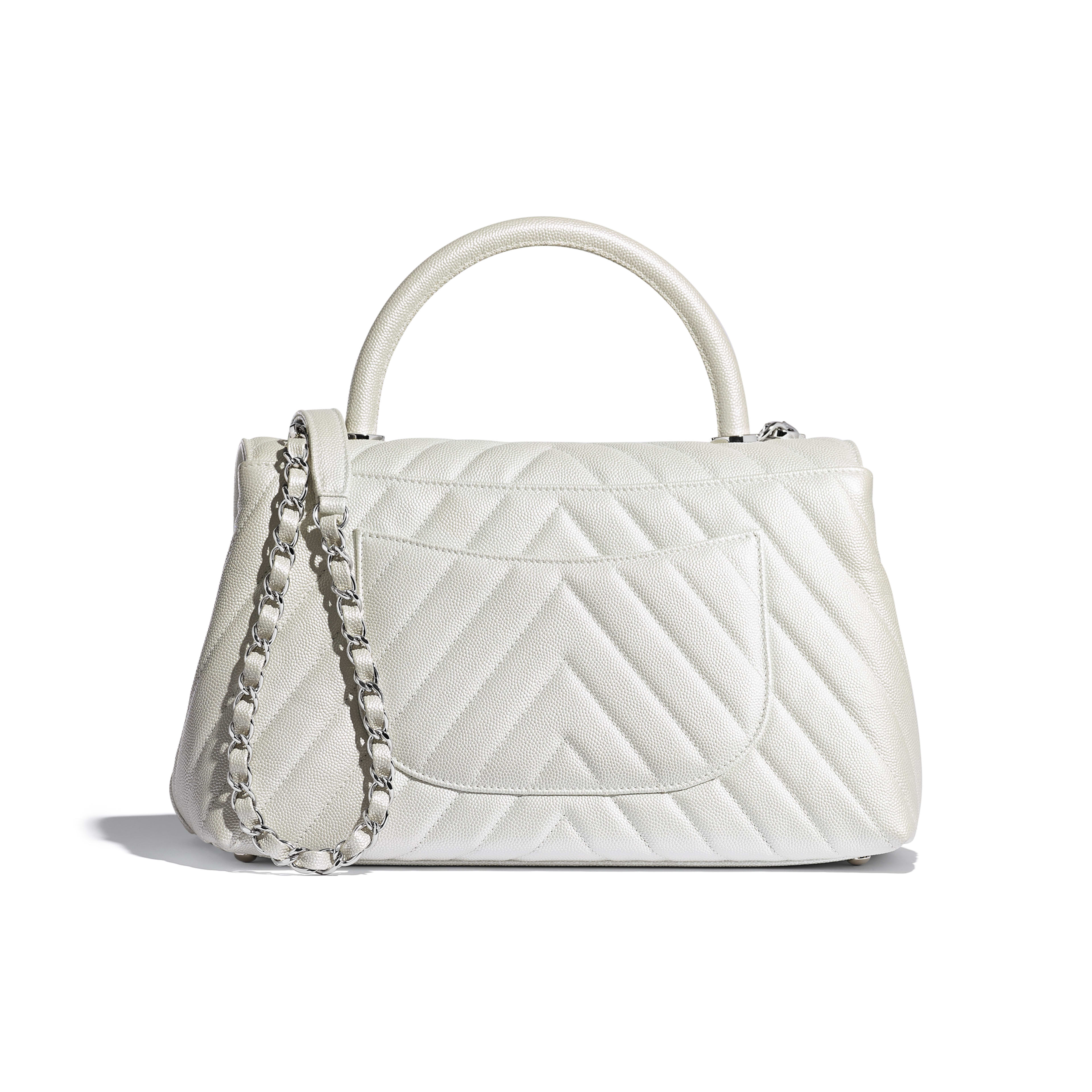 Iridescent Grained Calfskin Silver Tone Metal White Flap Bag With Top Handle Chanel