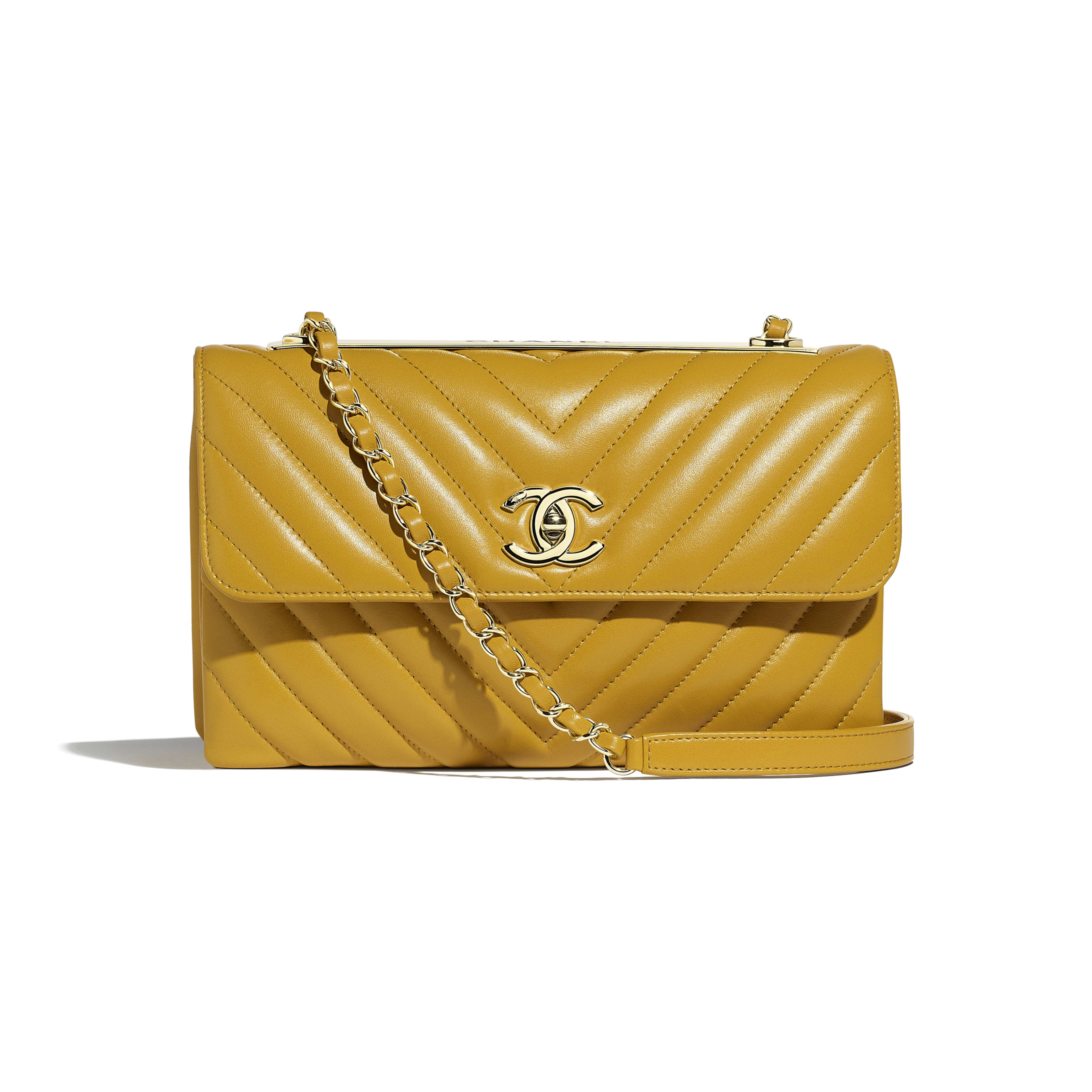 Flap Bag - Yellow - Lambskin - Default view - see full sized version