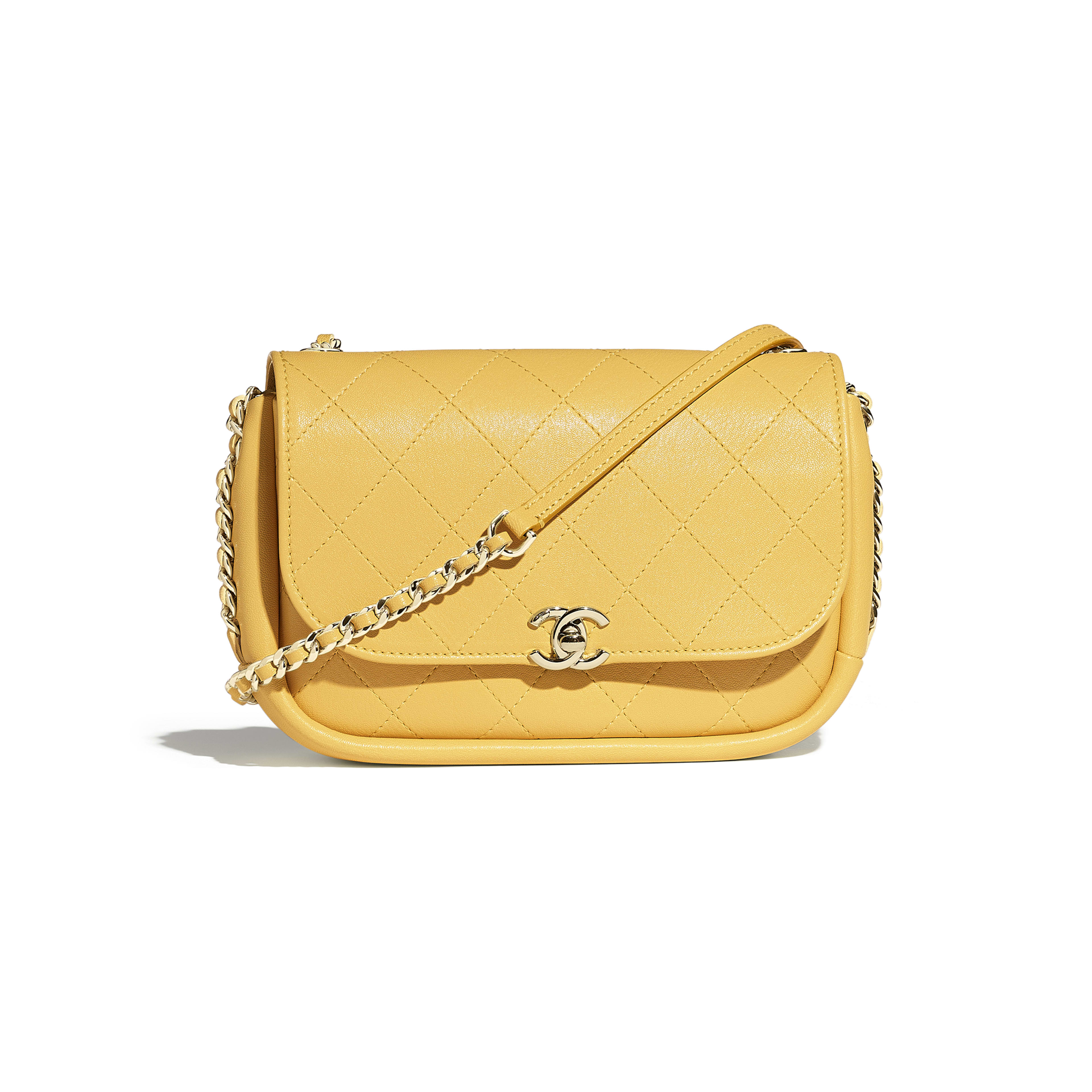 Flap Bag - Yellow - Lambskin & Gold-Tone Metal - Default view - see full sized version