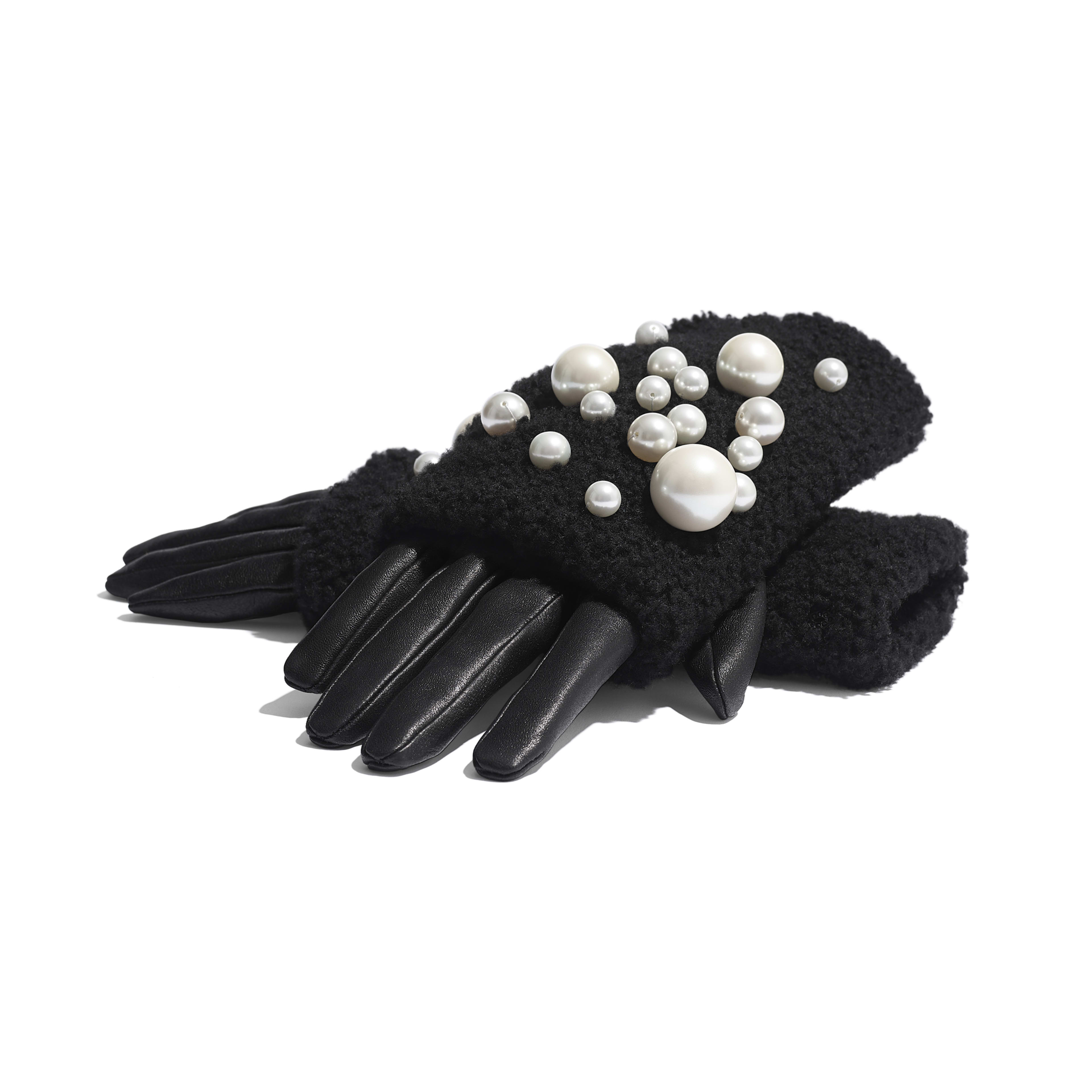 Gloves - Black - Lambskin, Shearling & Pearls - Alternative view - see full sized version