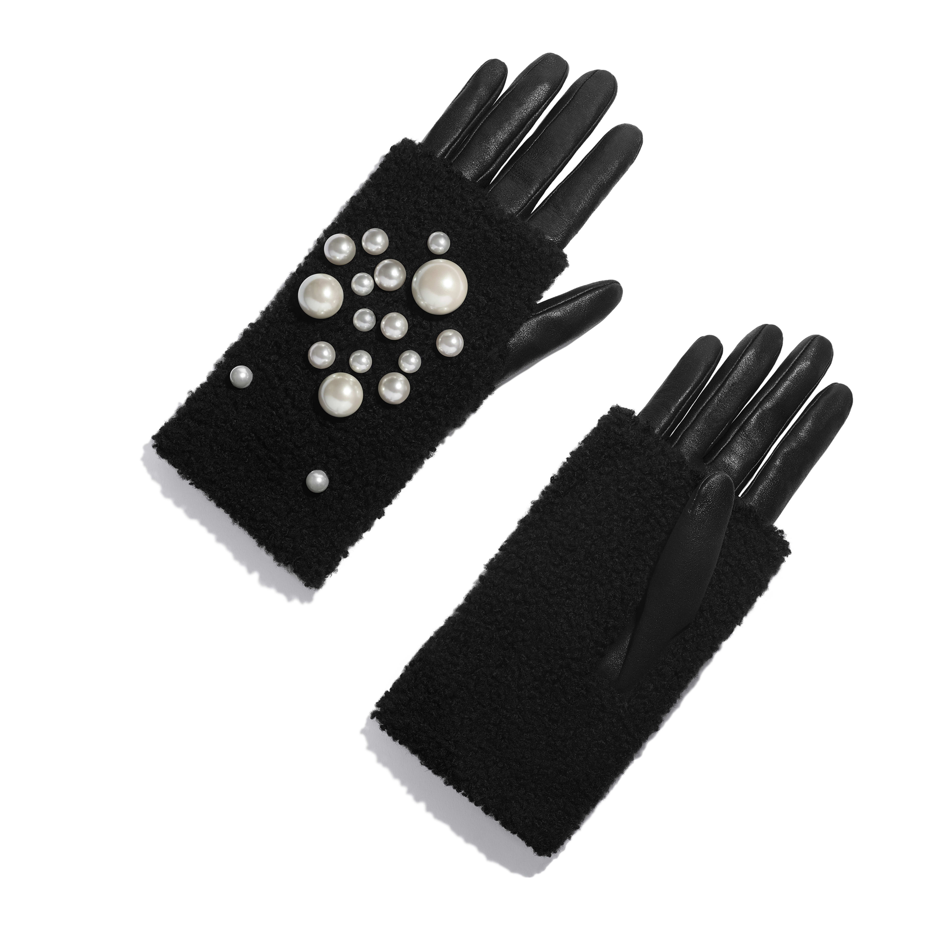 Gloves - Black - Lambskin, Shearling & Pearls - Default view - see full sized version