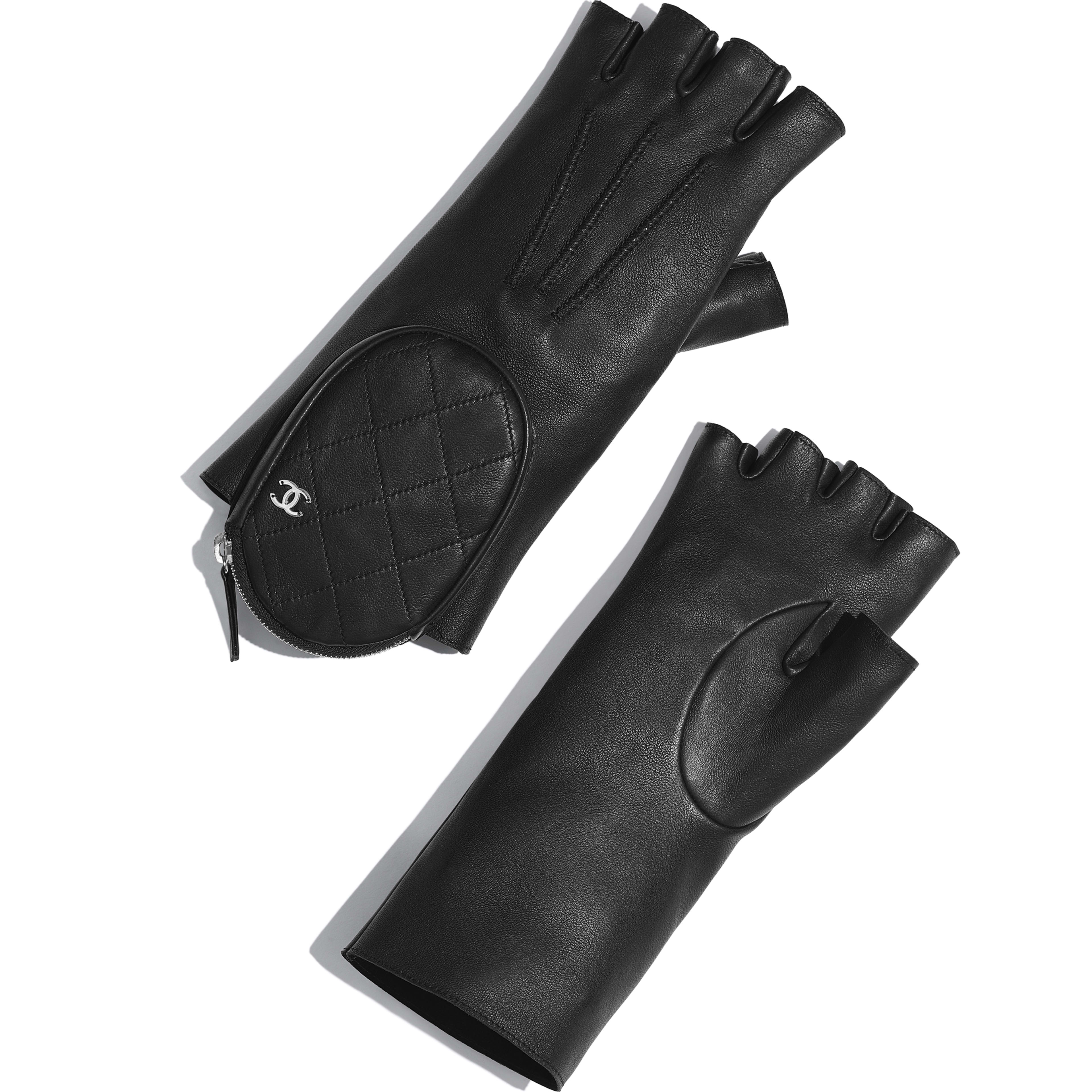 Gloves - Black - Lambskin & Silver-Tone Metal - Default view - see full sized version