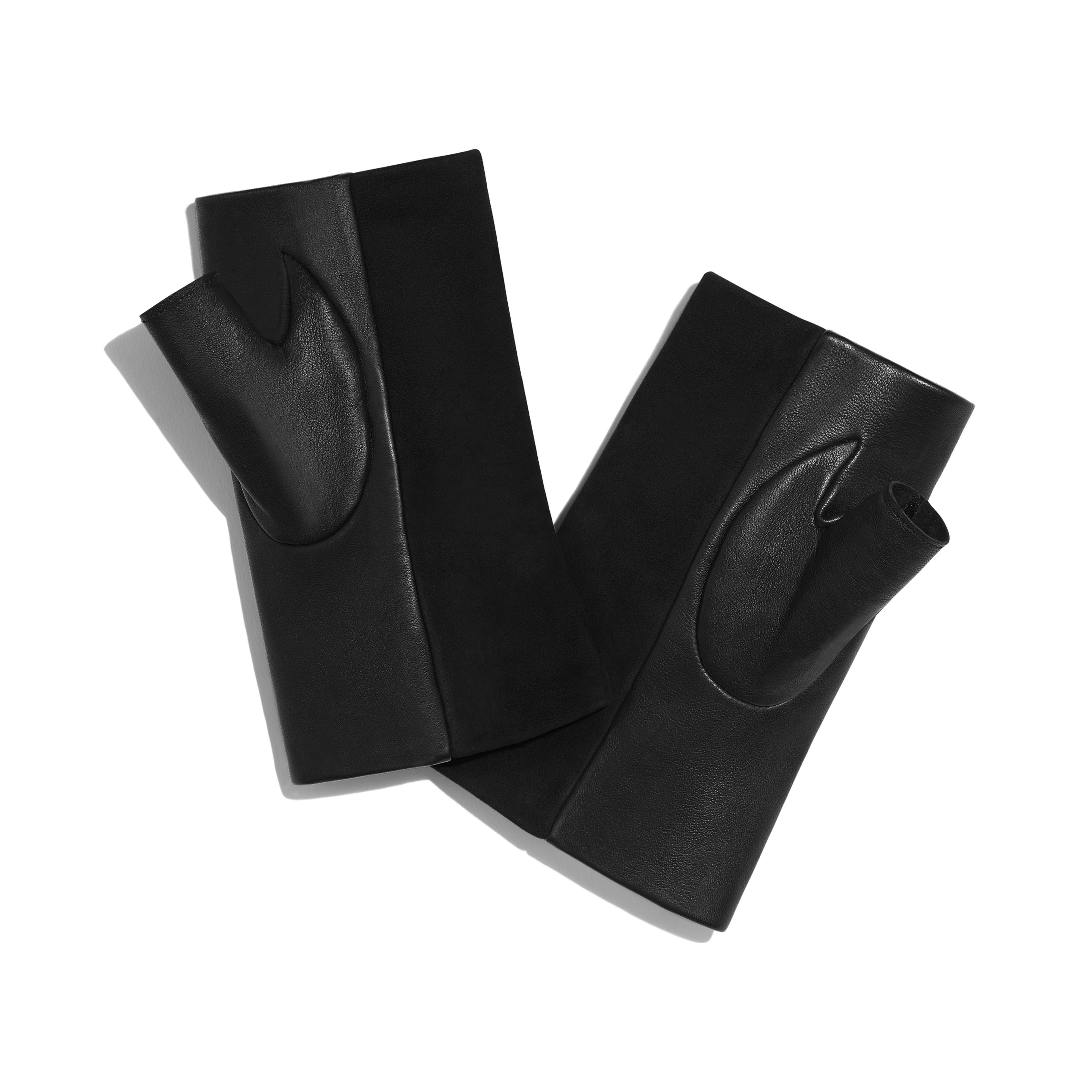 Gloves - Black - Suede Lambskin & Lambskin - Alternative view - see full sized version