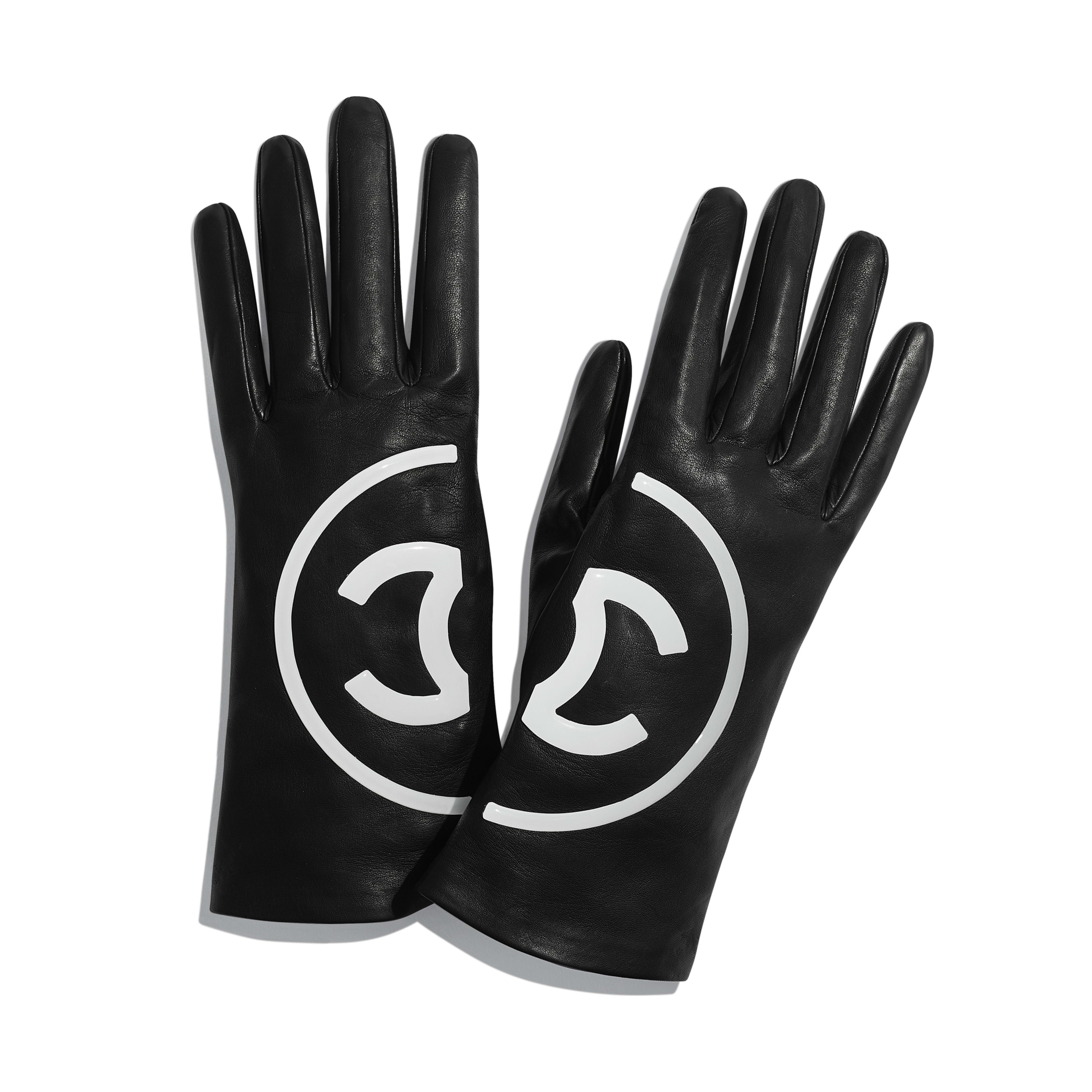 Gloves - Black & White - Lambskin - Default view - see full sized version