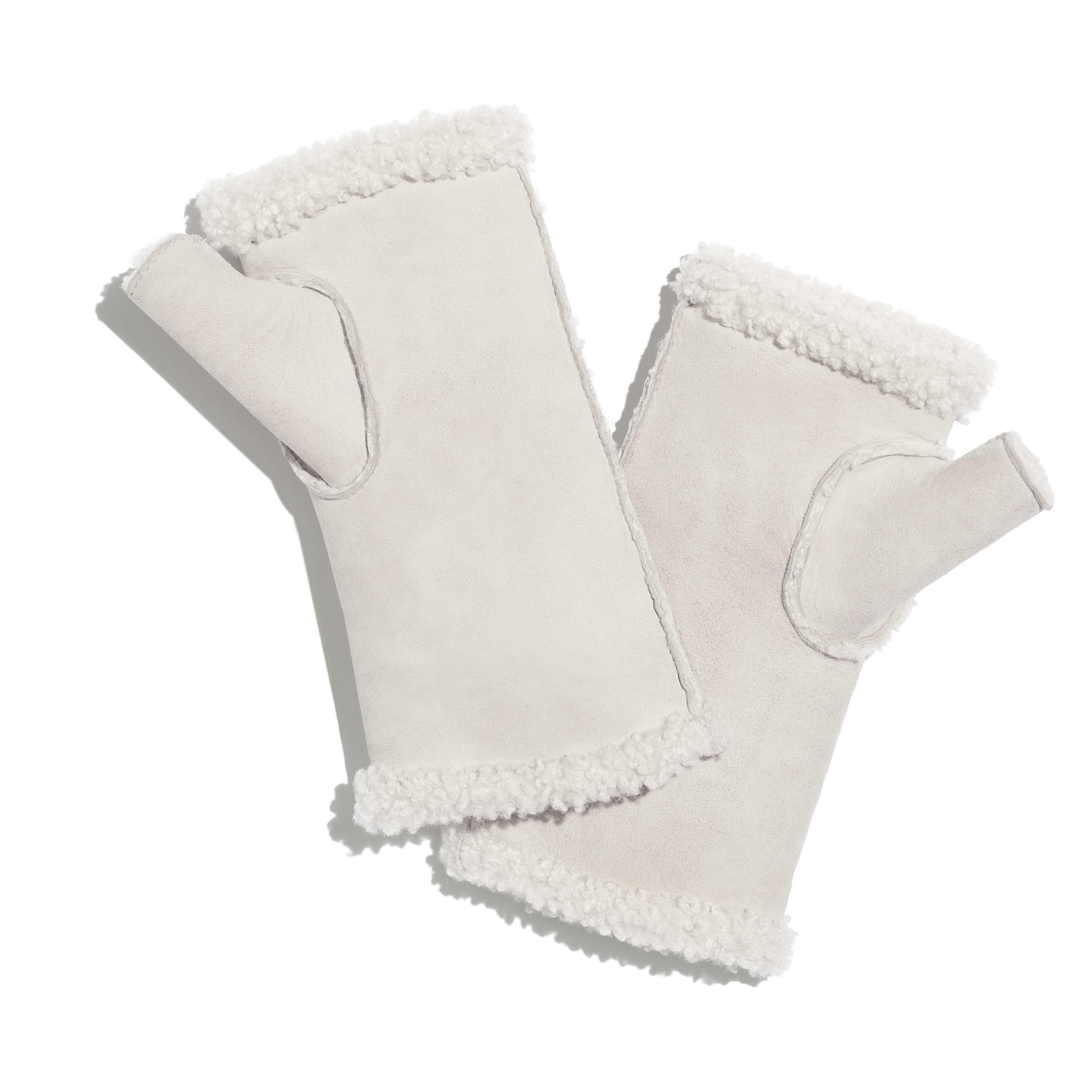 手套 - 象牙白 - 雙面剪羊毛 & 水鑽 - 替代視圖 - 查看全尺寸版本