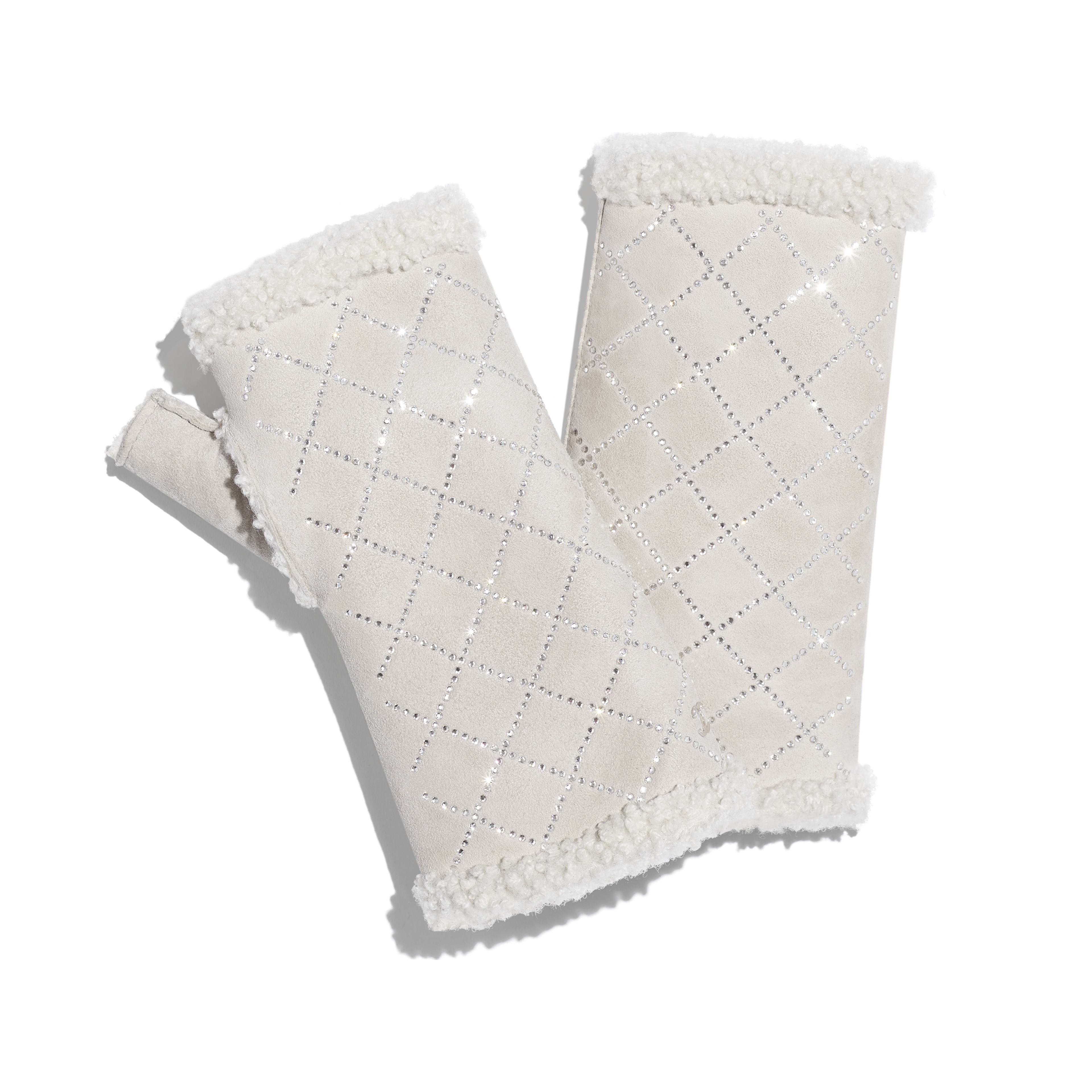 手套 - 象牙白 - 雙面剪羊毛 & 水鑽 - 預設視圖 - 查看全尺寸版本