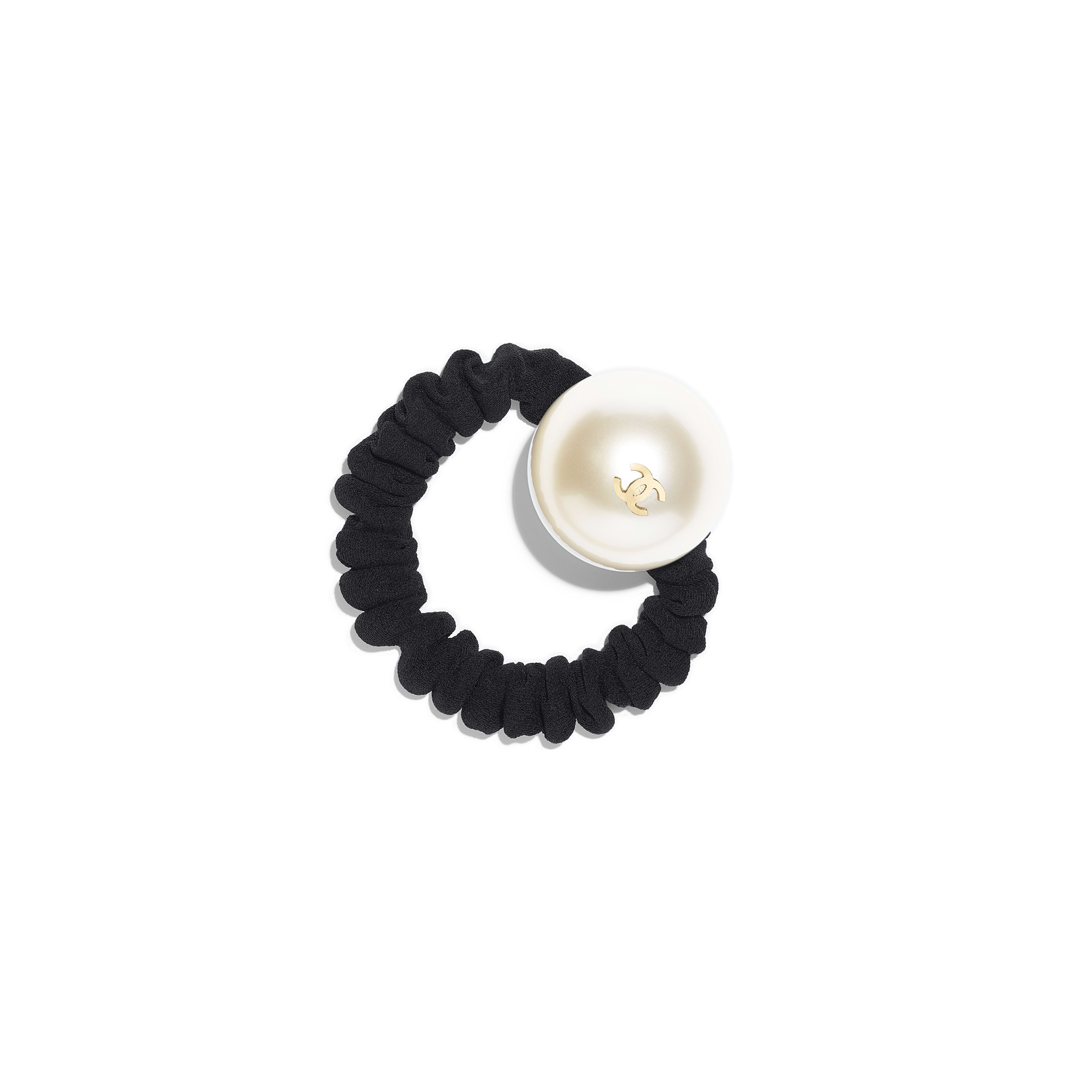 Hair accessory - Black, Gold & Pearly White - Grosgrain, Resin & Metal - Default view - see full sized version